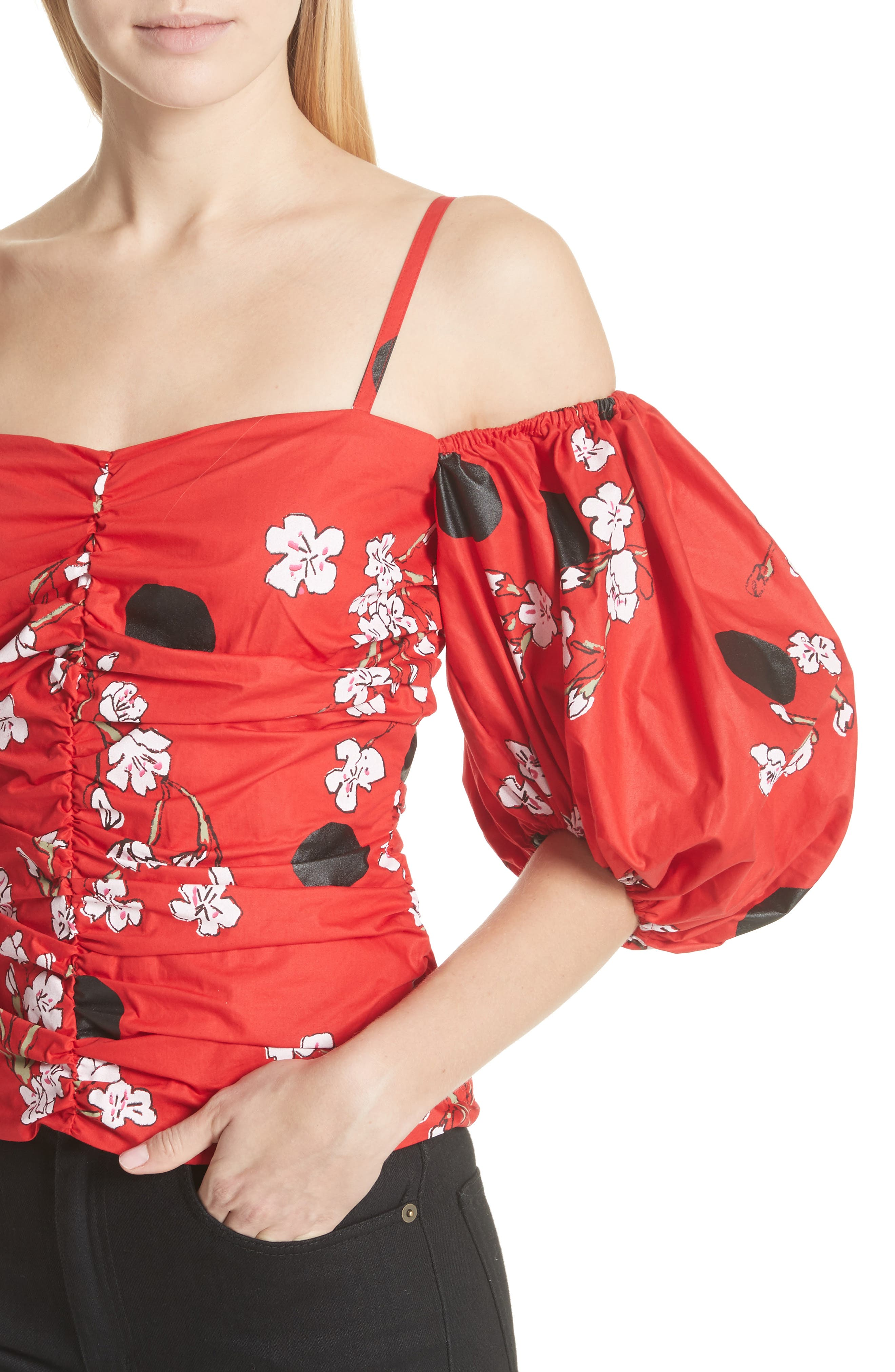 Ruched Bubble Sleeve Top,                             Alternate thumbnail 4, color,                             600