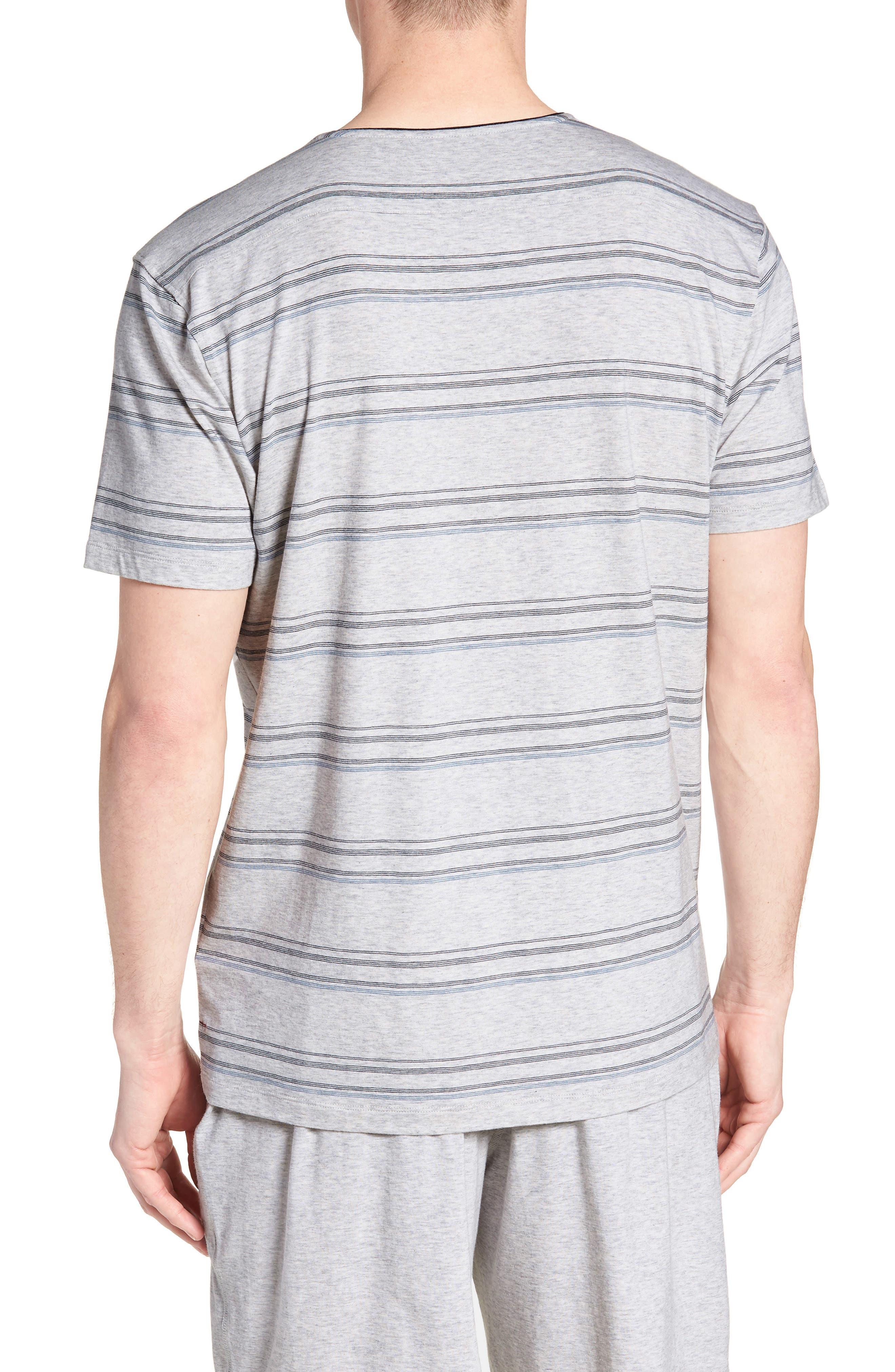 Stripe Pima Cotton & Modal V-Neck T-Shirt,                             Alternate thumbnail 2, color,                             BLACK/ BLUE