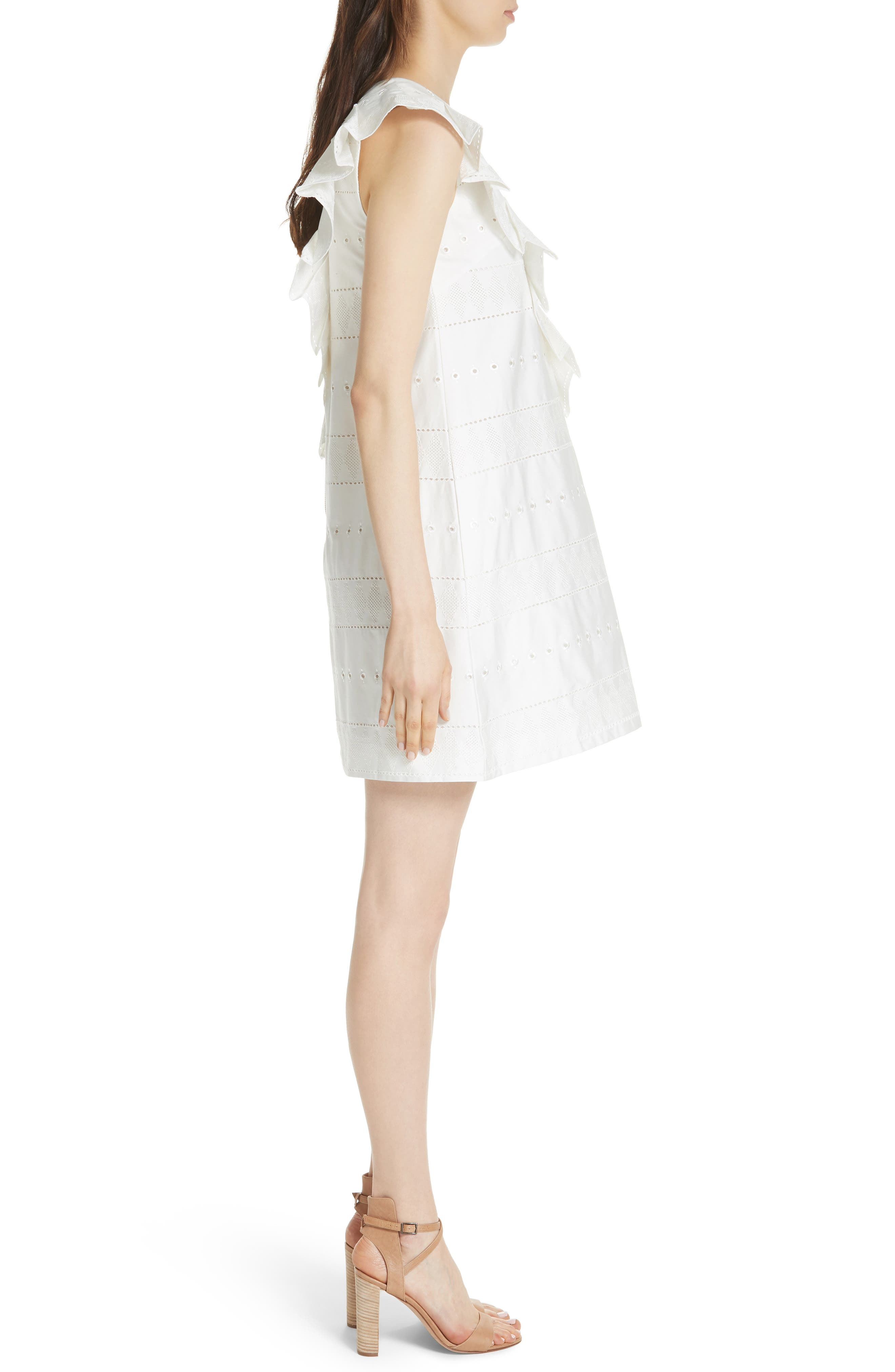 Embroidered Ruffle Stretch Cotton Shift Dress,                             Alternate thumbnail 3, color,                             110
