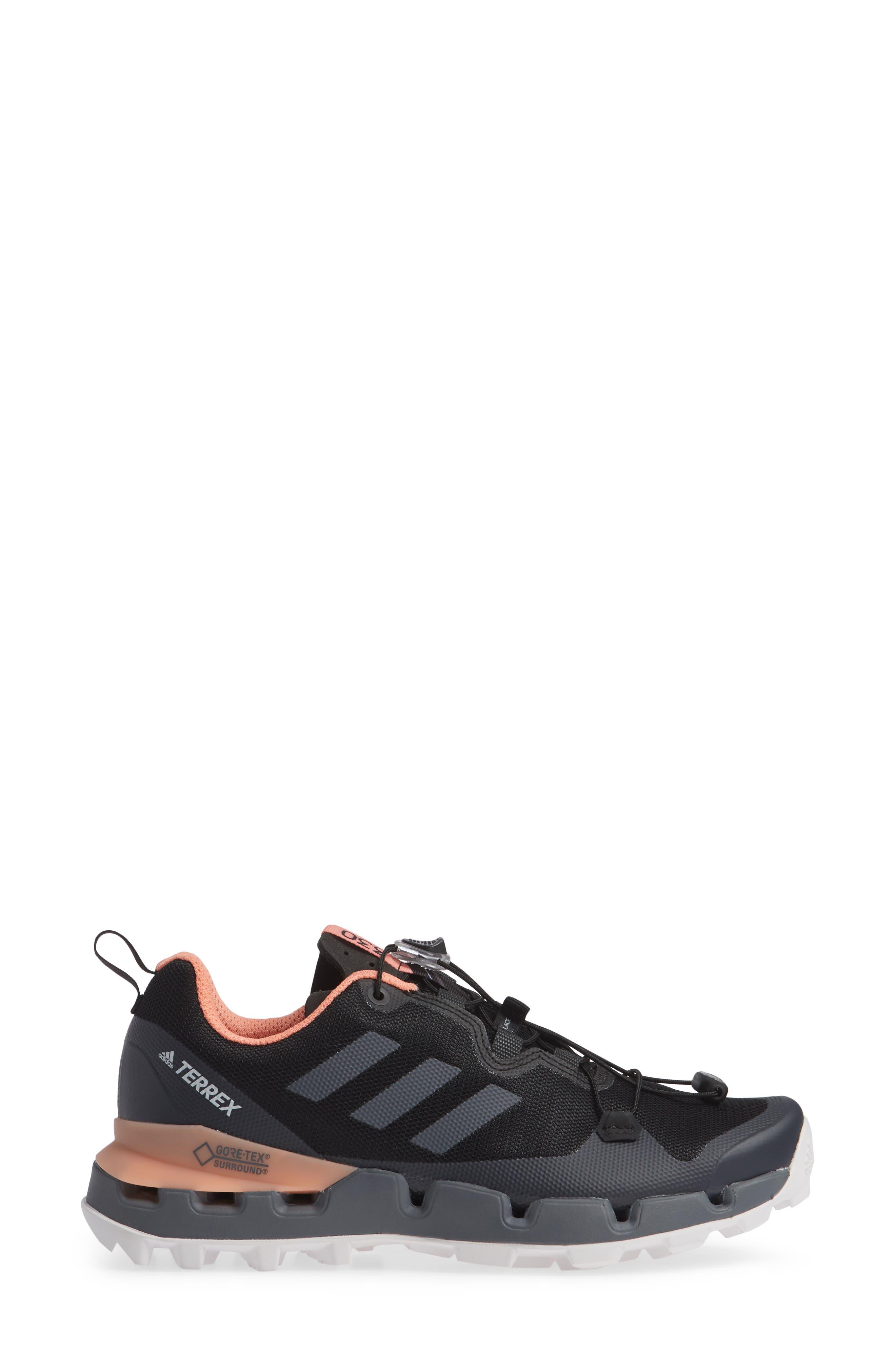 Terrex Fast GTX<sup>®</sup> Surround Hiking Shoe,                             Alternate thumbnail 3, color,                             BLACK/ GREY FIVE/ CHALK CORAL