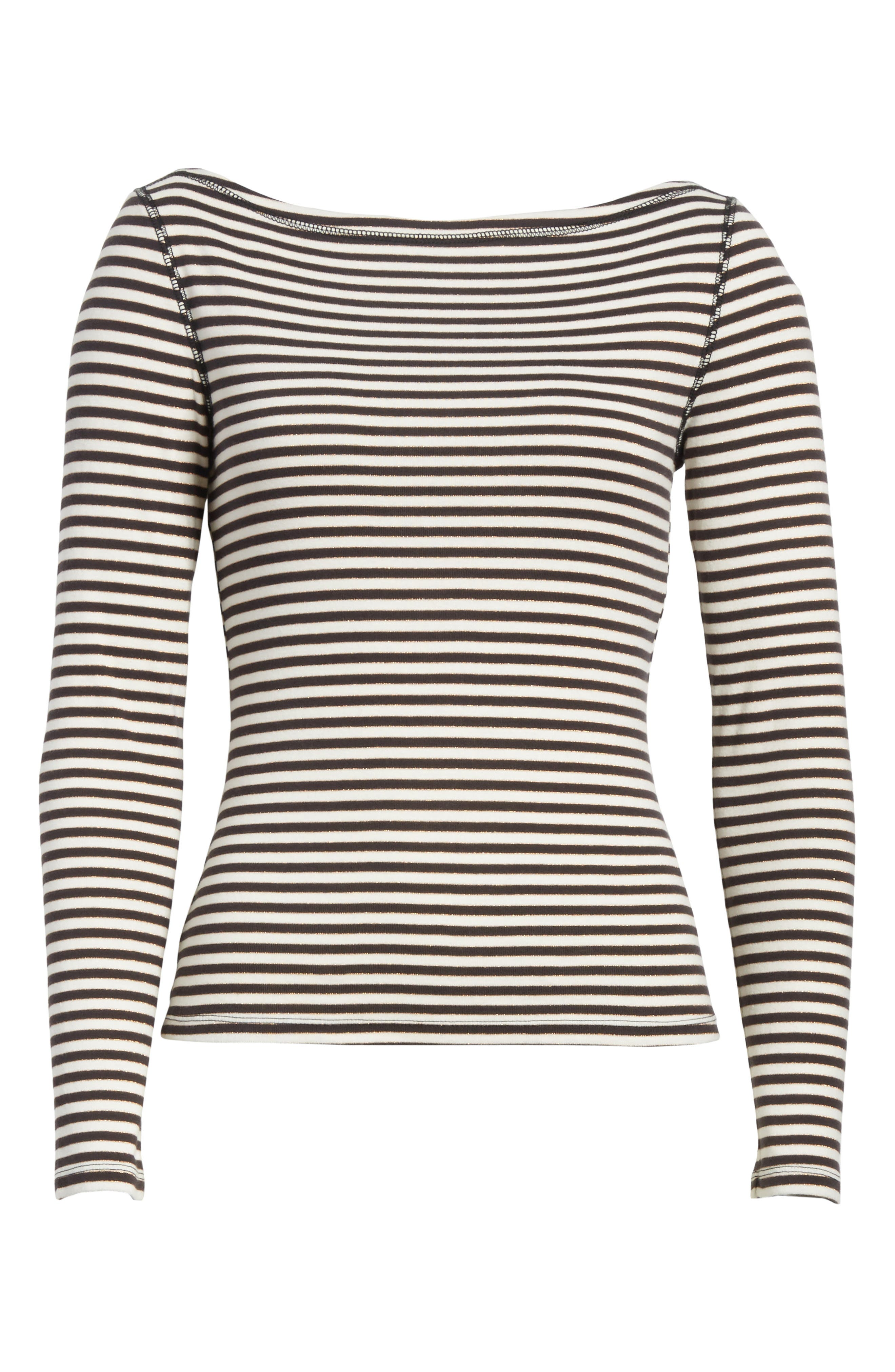 Stripe Metallic Jersey Top,                             Alternate thumbnail 6, color,                             497