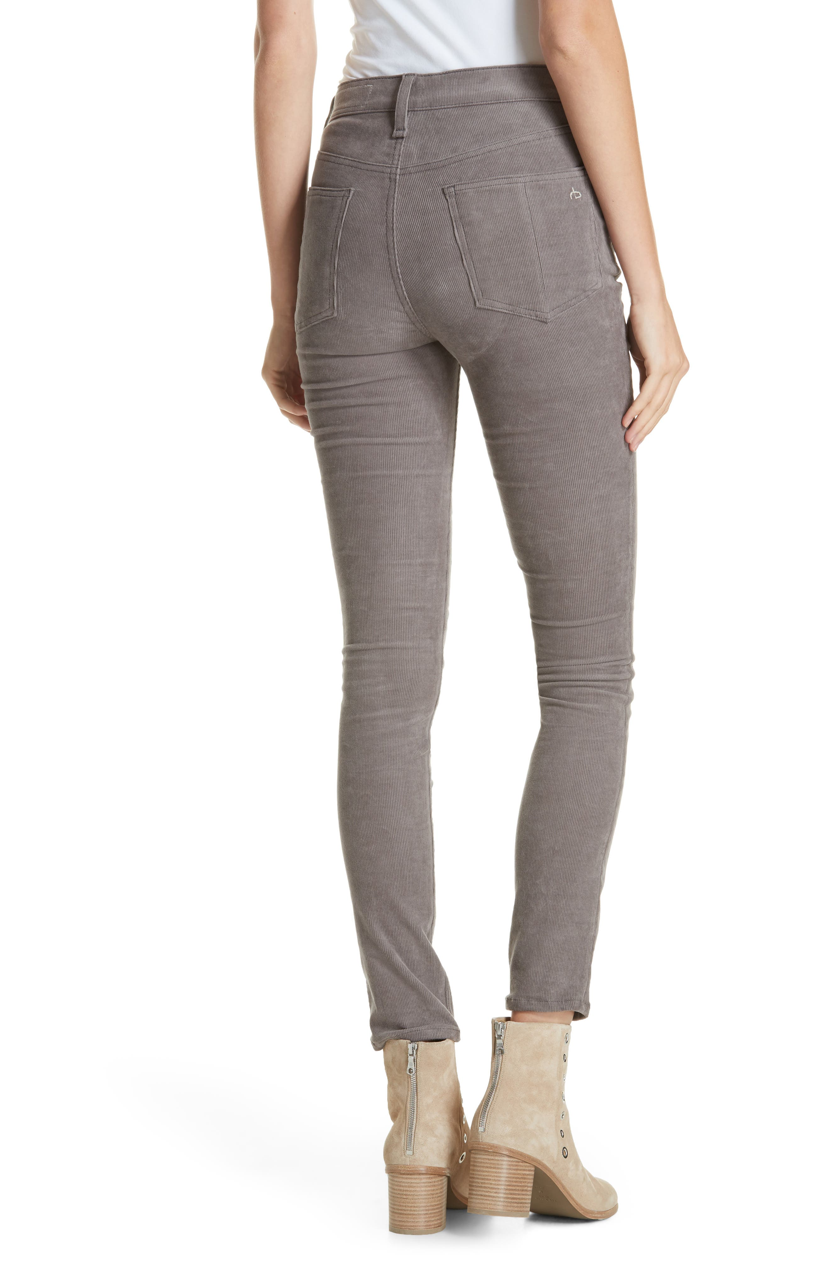 rag & bone High Waist Ankle Skinny Corduroy Pants,                             Alternate thumbnail 2, color,                             021