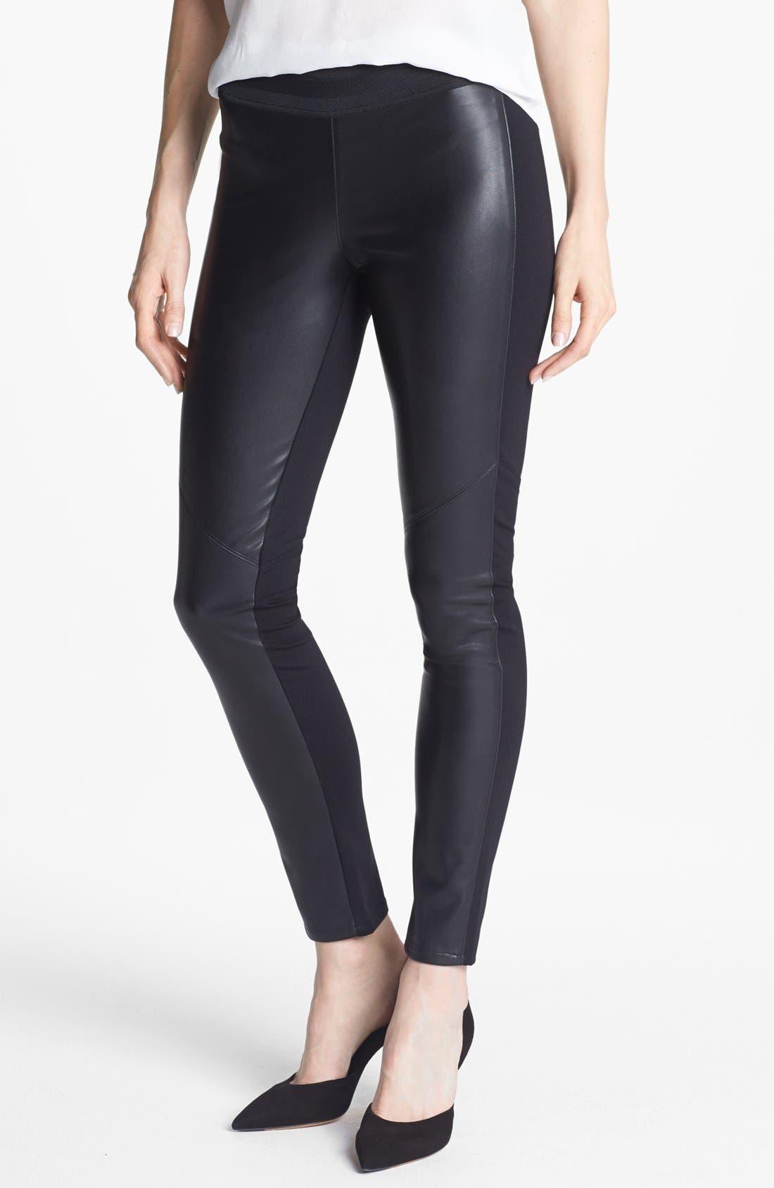 Denim 'Paloma' Faux Leather Leggings, Main, color, 001