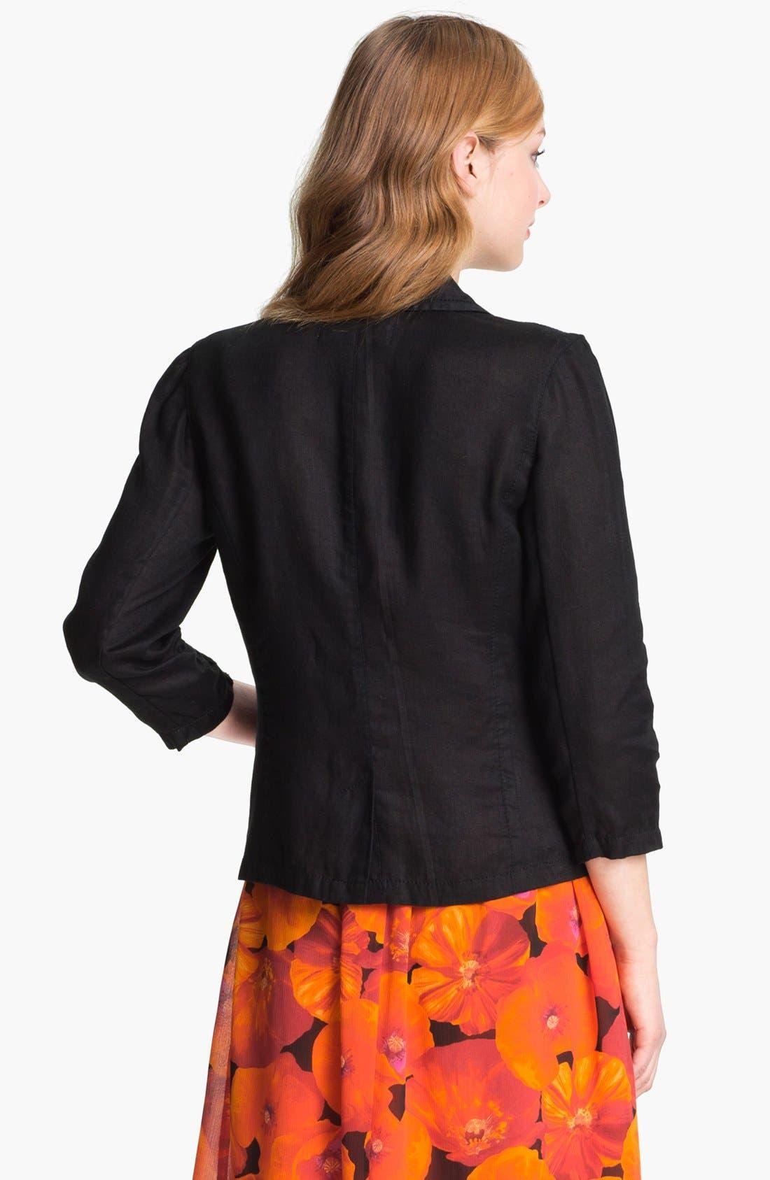 Two Button Linen Jacket,                             Alternate thumbnail 3, color,                             001