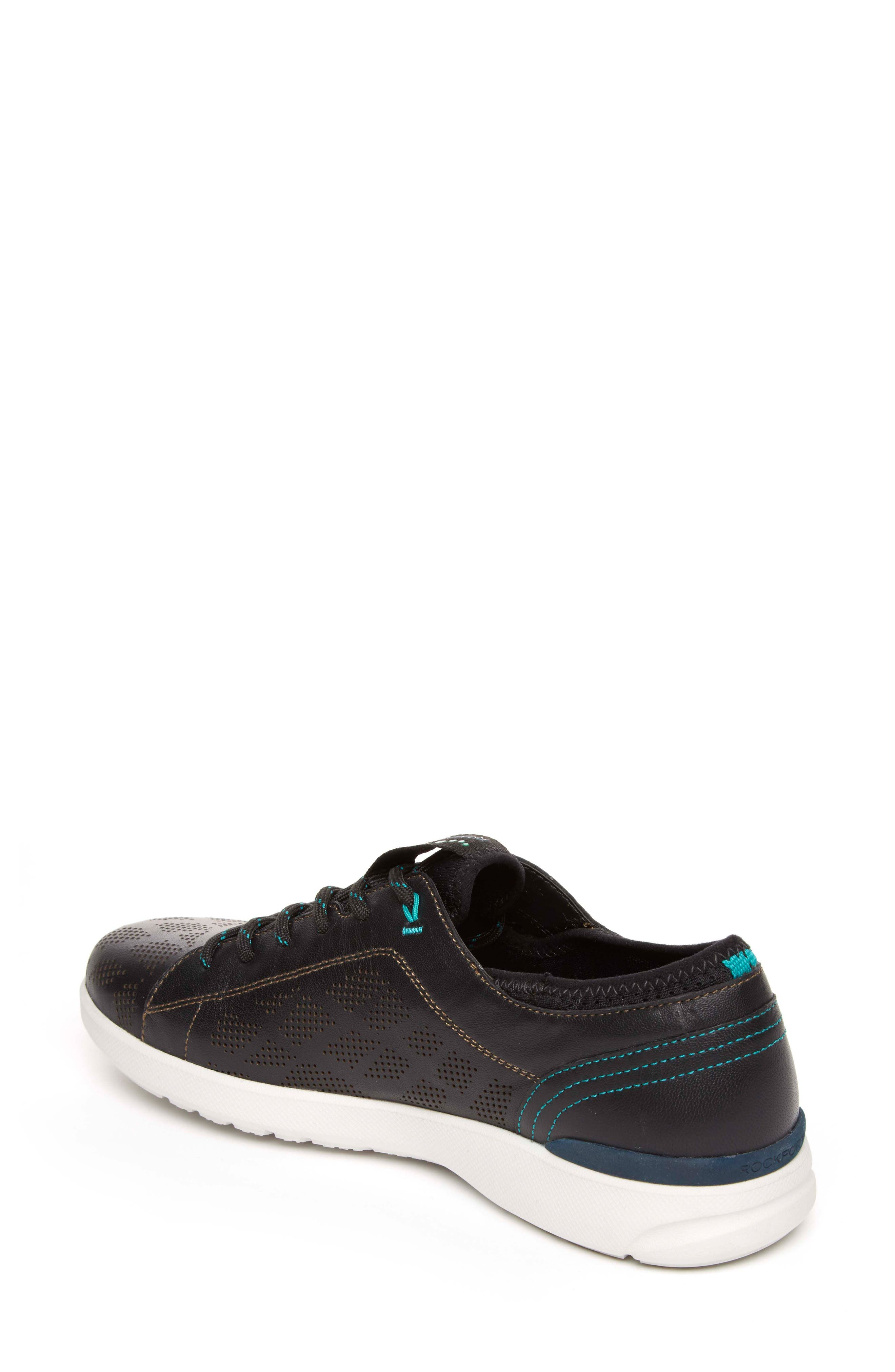 truFLEX Perforated Sneaker,                             Alternate thumbnail 2, color,                             BLACK LEATHER