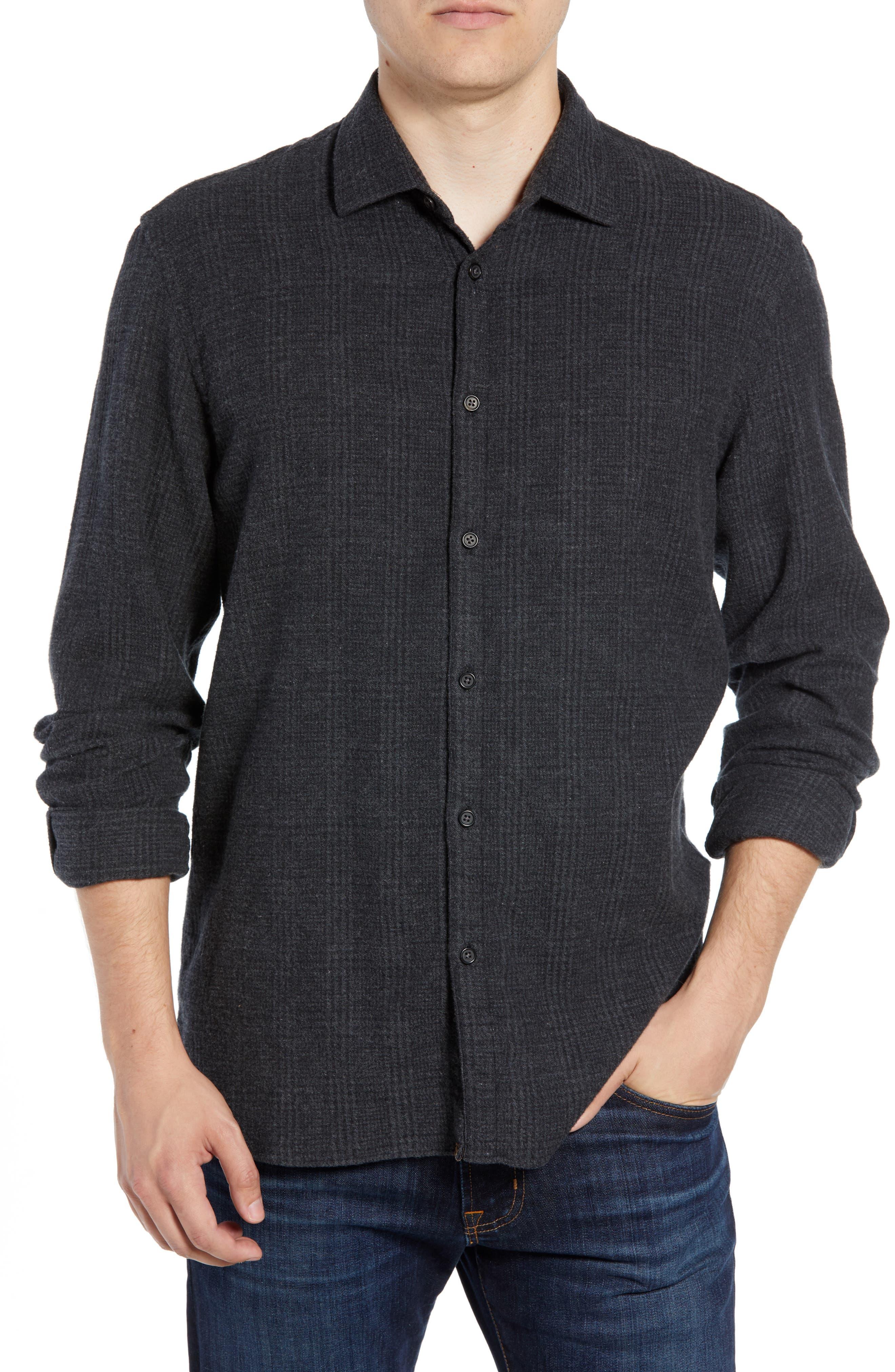 Walker Regular Fit Flannel Sport Shirt,                             Main thumbnail 1, color,                             CHARCOAL