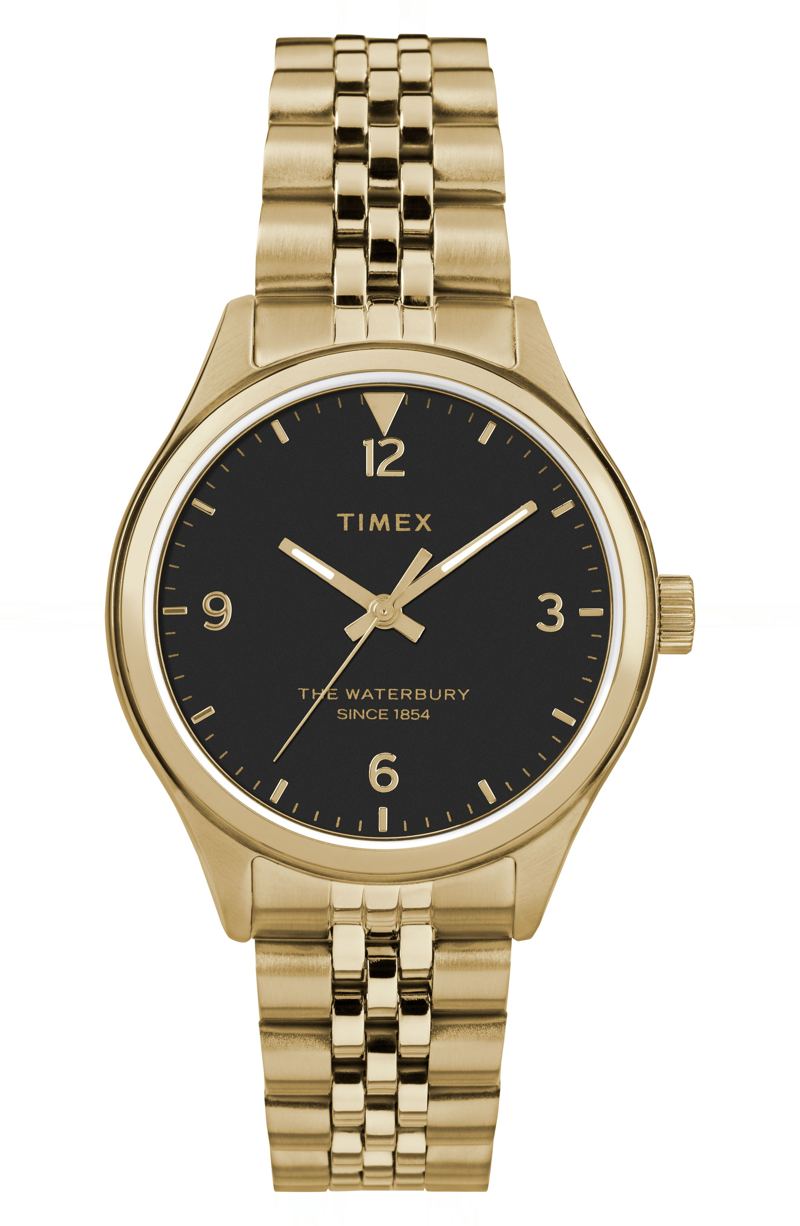 Waterbury Bracelet Watch, 34mm,                             Main thumbnail 1, color,                             GOLD/ BLACK/ GOLD