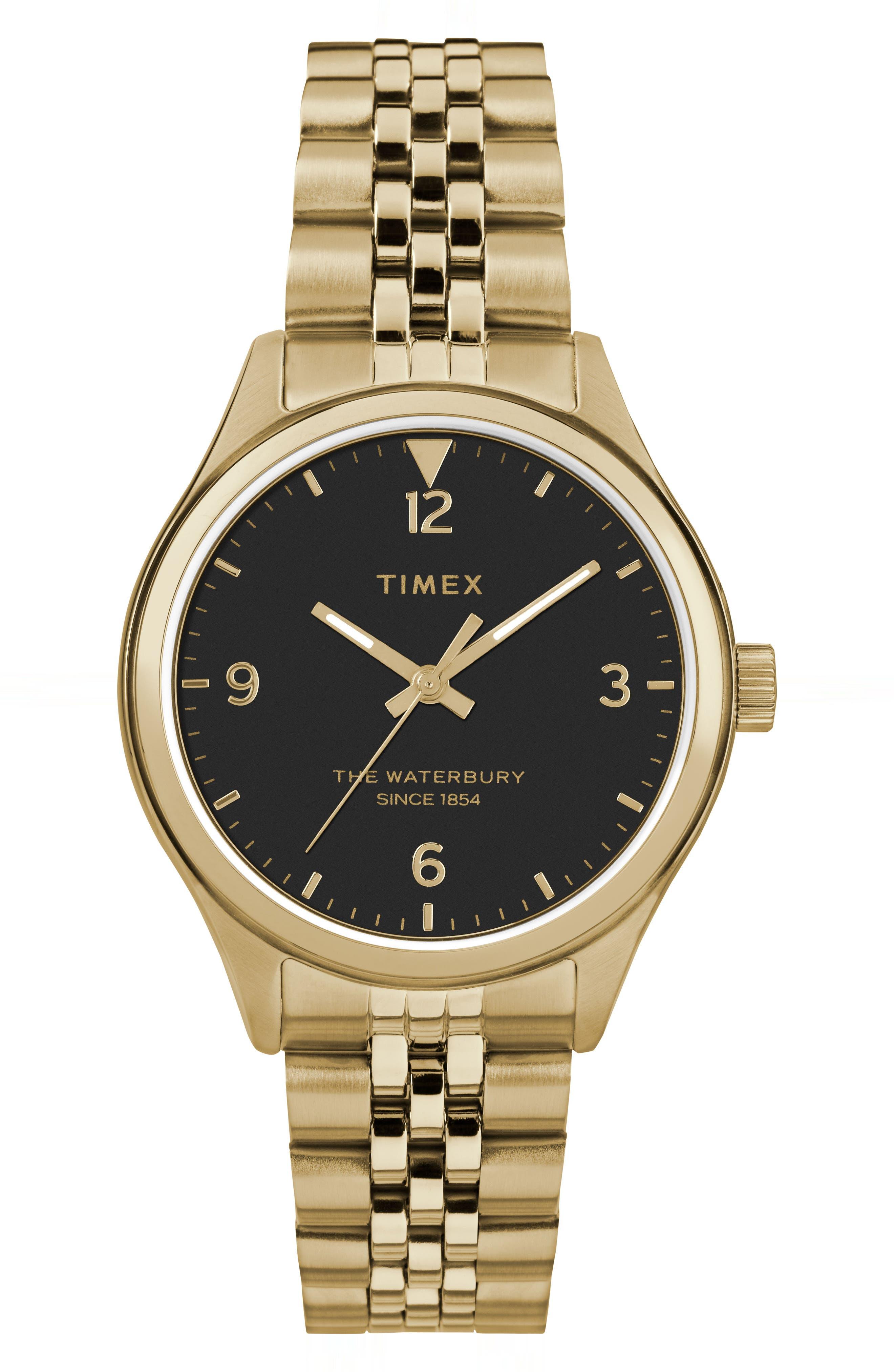 Waterbury Bracelet Watch, 34mm,                             Main thumbnail 1, color,                             GOLD/ BLACK/ GOLD