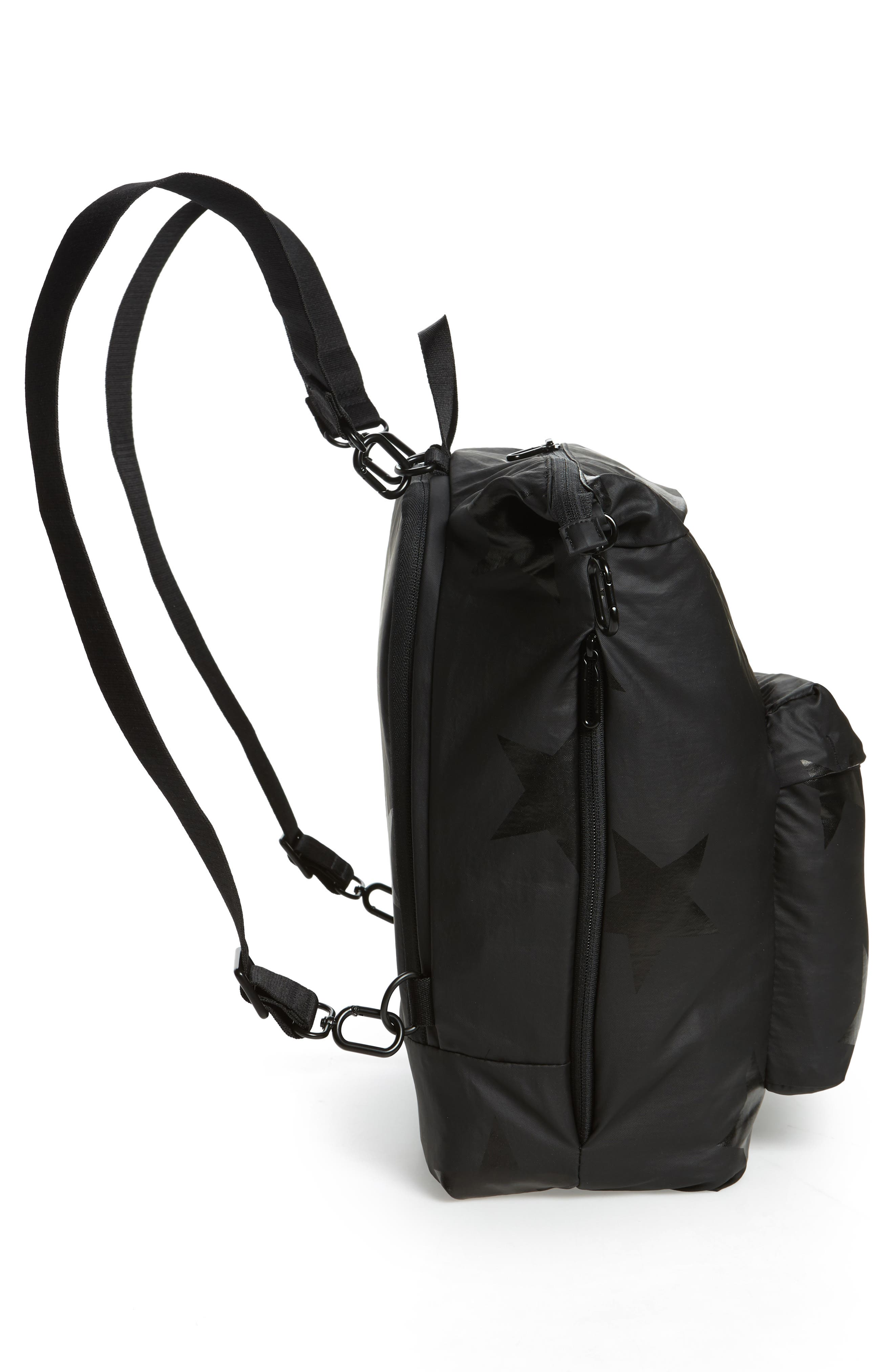 +one duo Nylon Convertible Diaper Bag,                             Alternate thumbnail 5, color,                             BLACK STAR