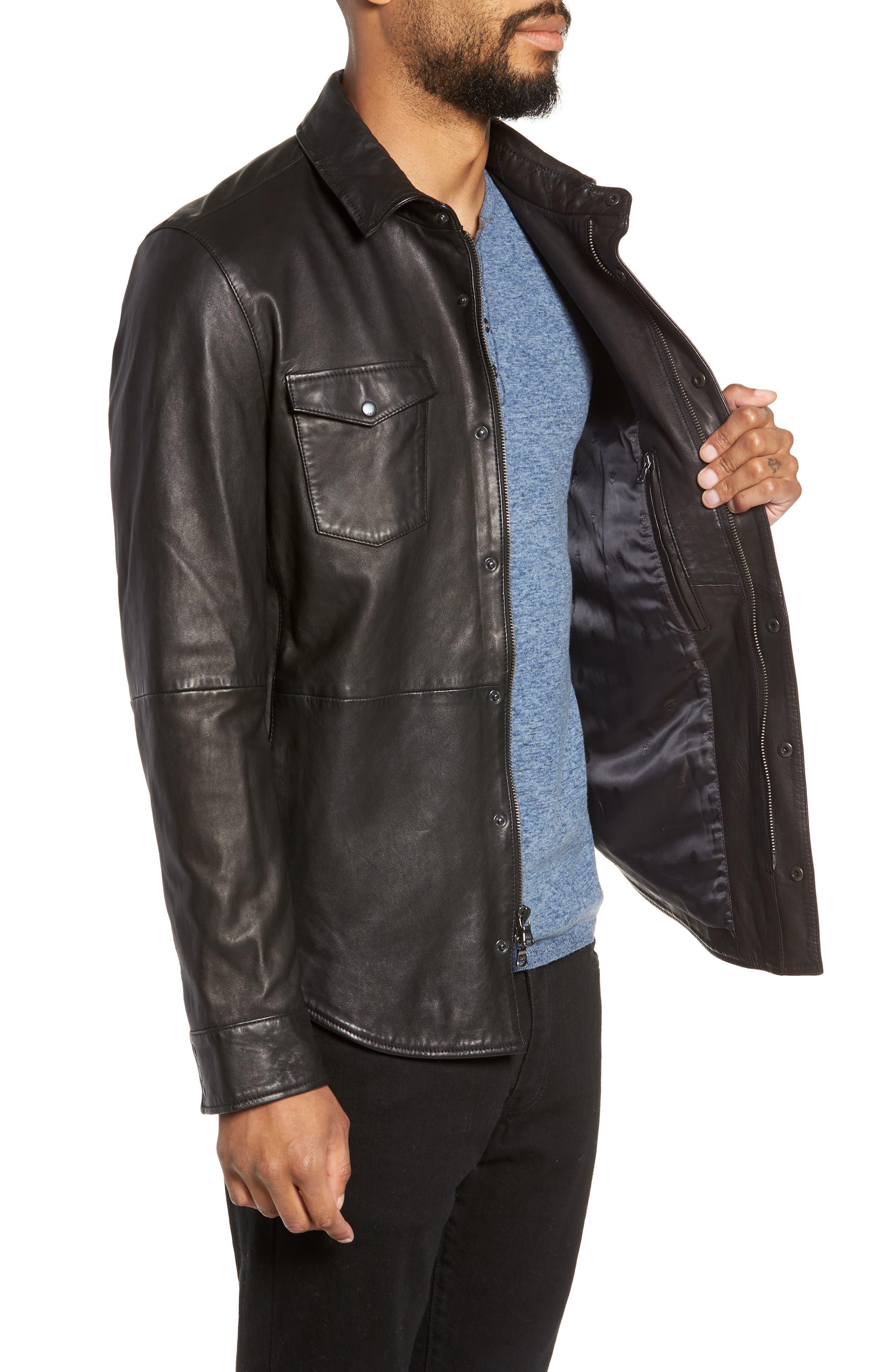 Oiled Lambskin Leather Shirt Jacket,                             Alternate thumbnail 3, color,                             001