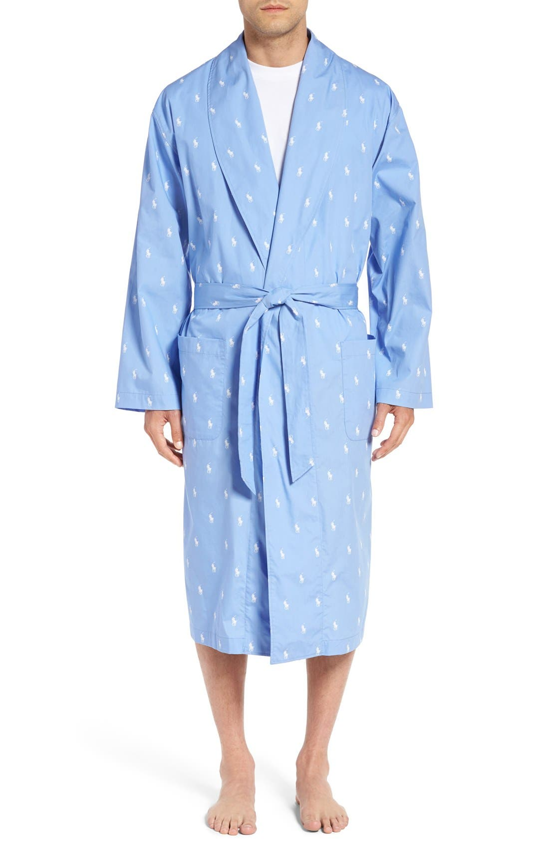 POLO RALPH LAUREN,                             'Polo Player' Cotton Robe,                             Main thumbnail 1, color,                             BEACH BLUE