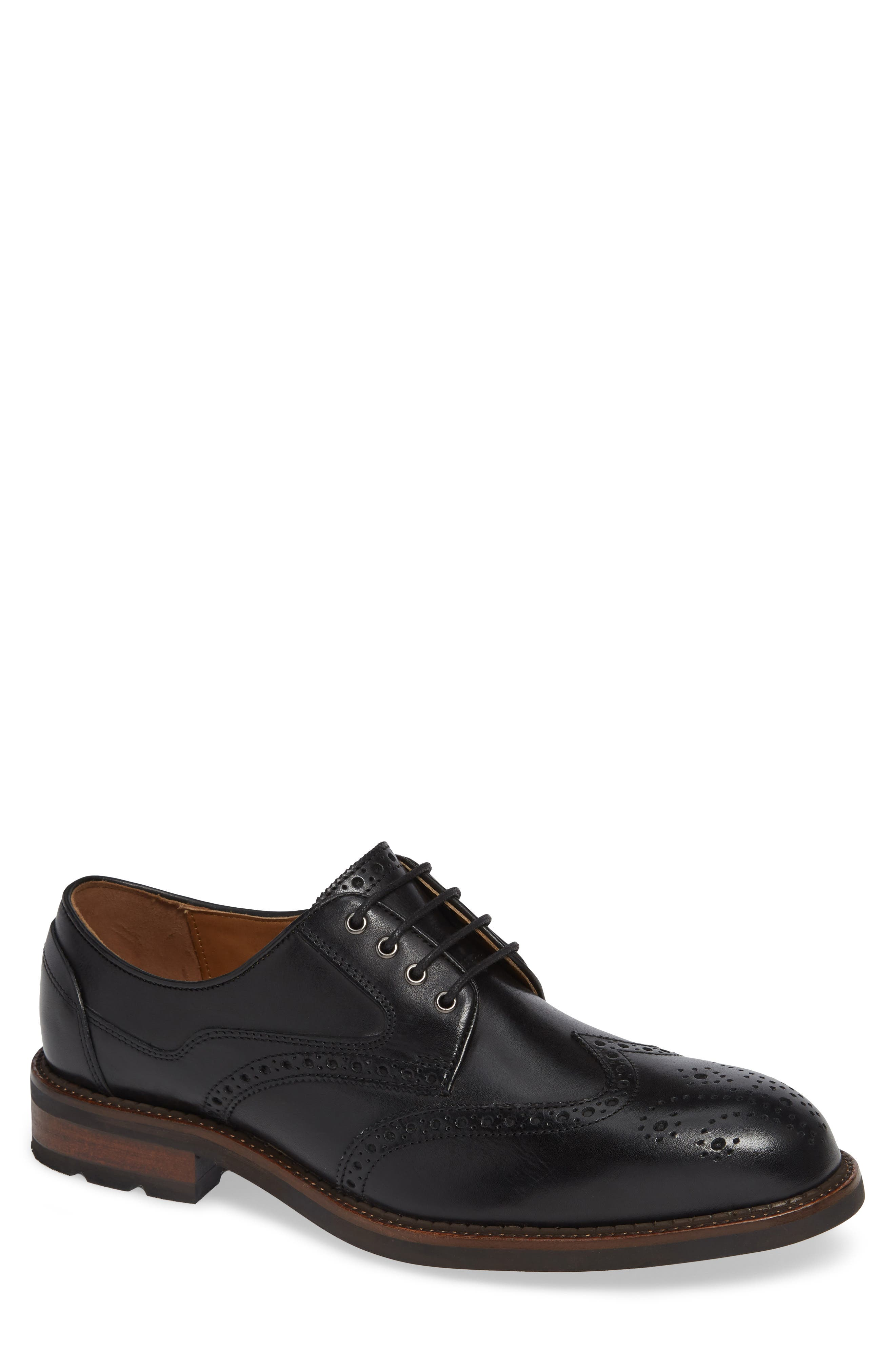 Fullerton Wingtip,                             Main thumbnail 1, color,                             BLACK LEATHER