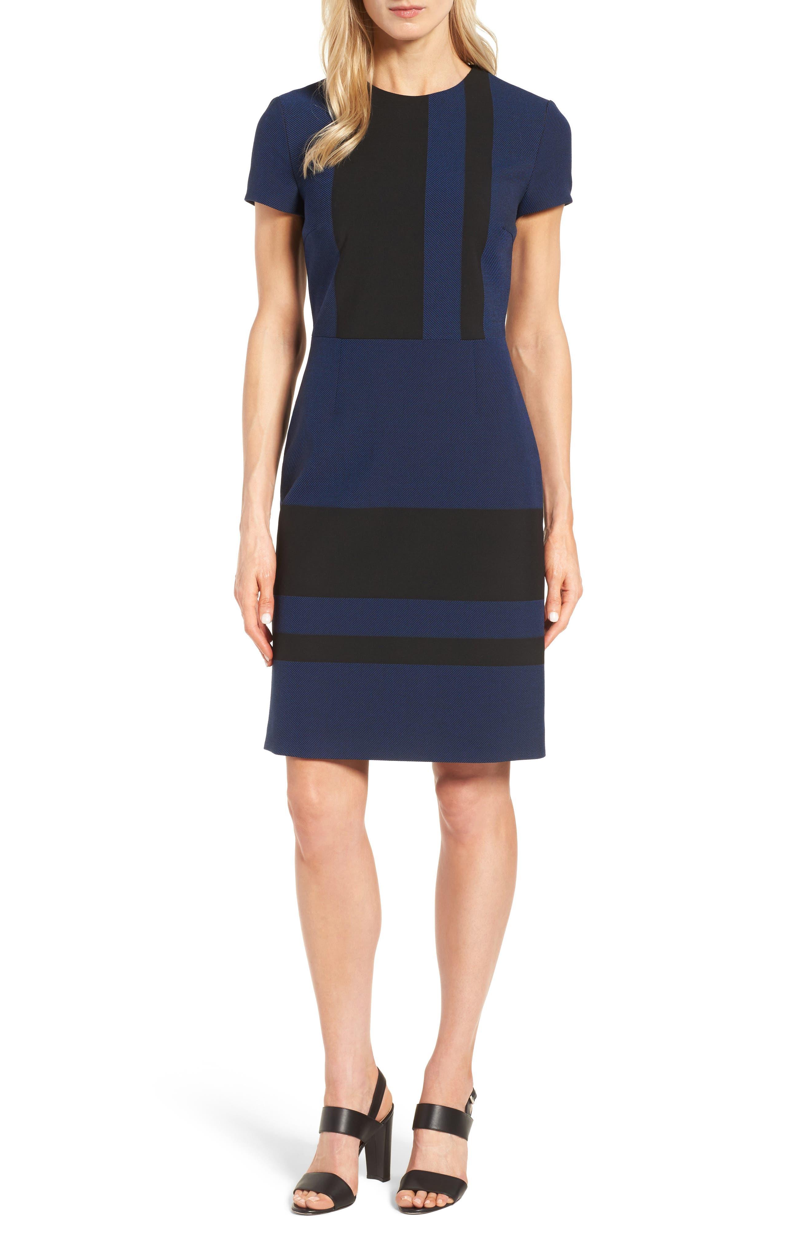 Hermely Stripe Sheath Dress,                             Main thumbnail 1, color,                             400