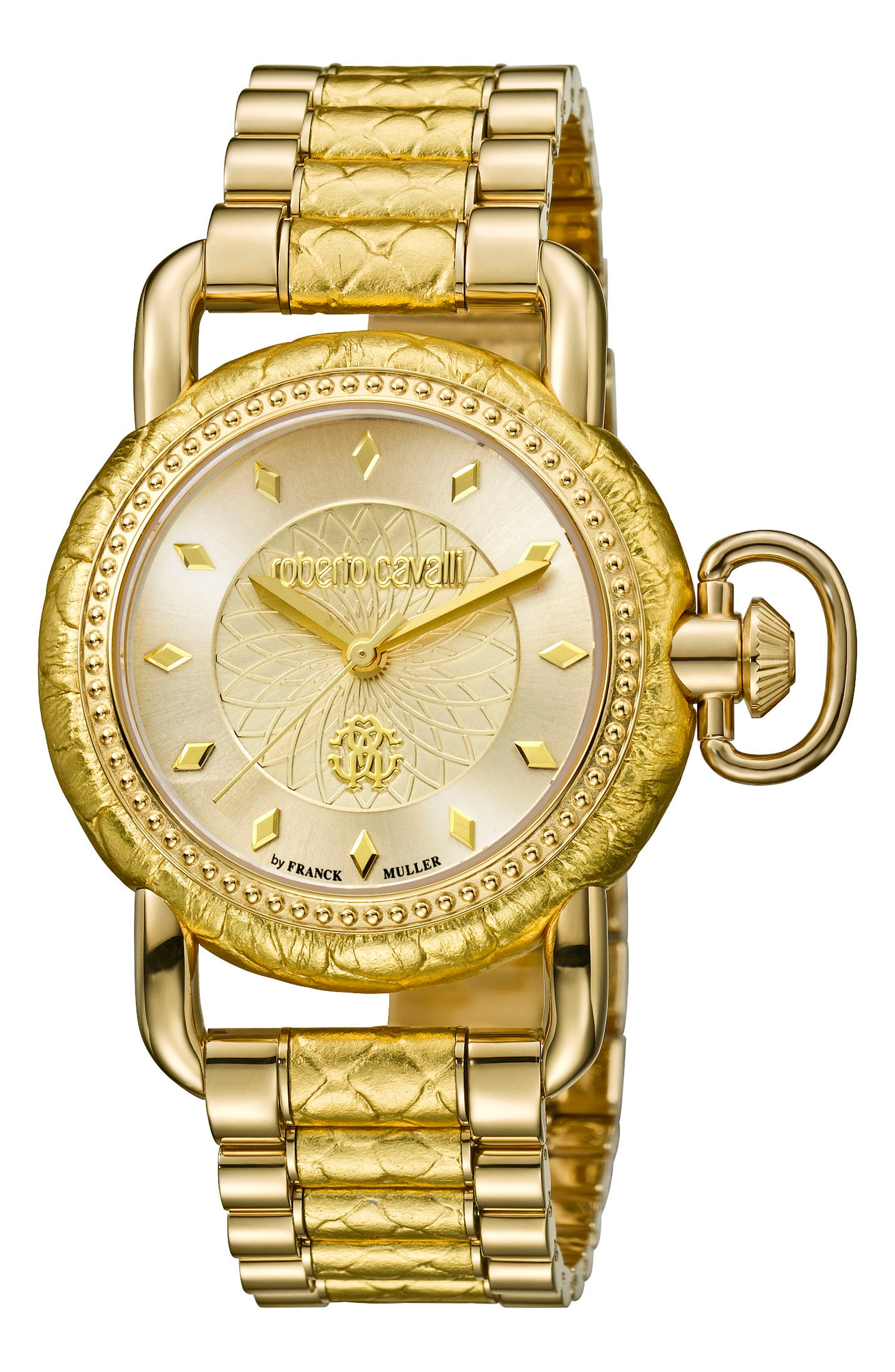 Snake Bracelet Watch, 36mm,                             Main thumbnail 1, color,                             GOLD/ CHAMPAGNE GUILLOCHE