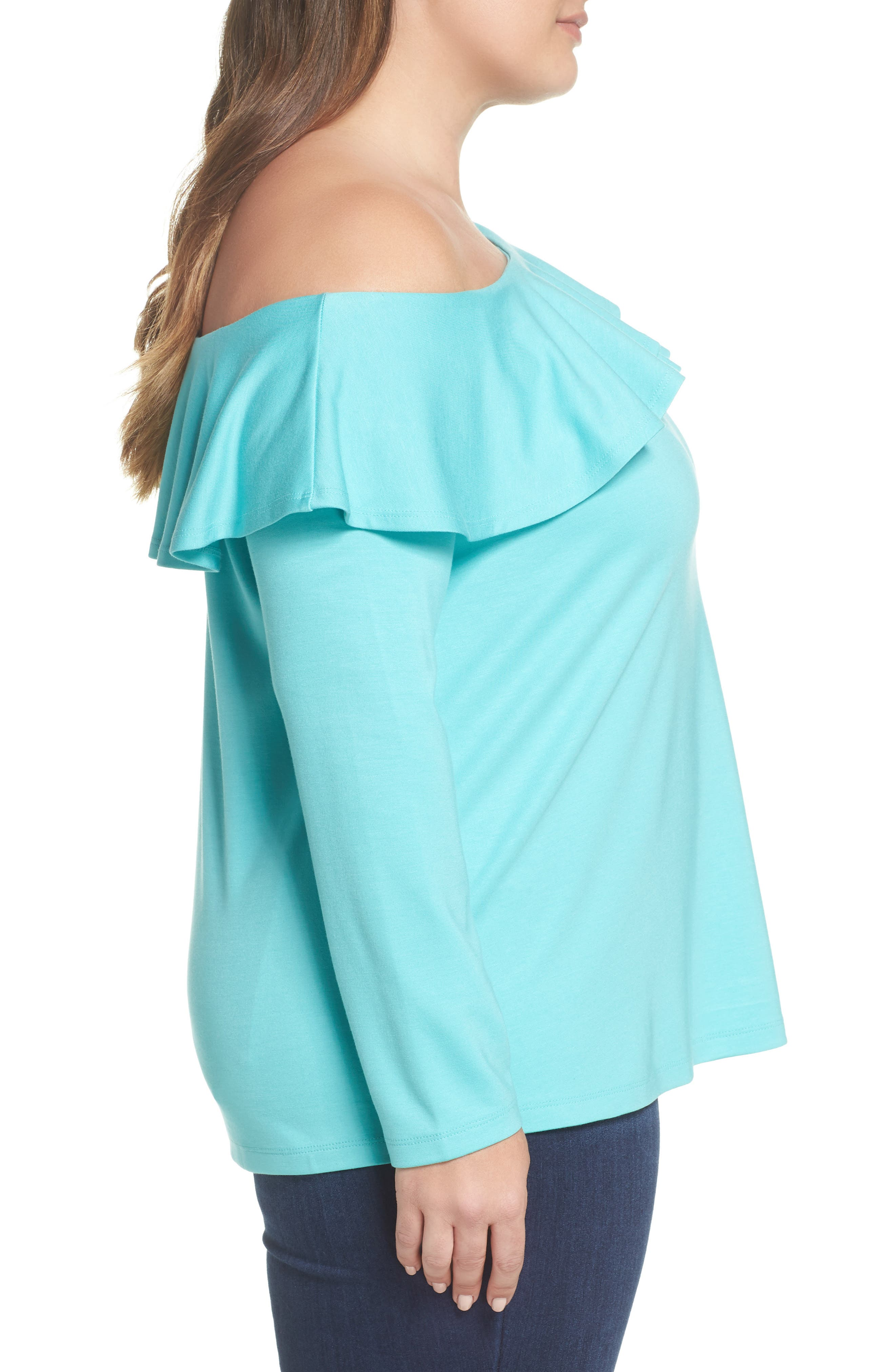 x Living in Yellow Elizabeth One-Shoulder Ruffle Top,                             Alternate thumbnail 11, color,