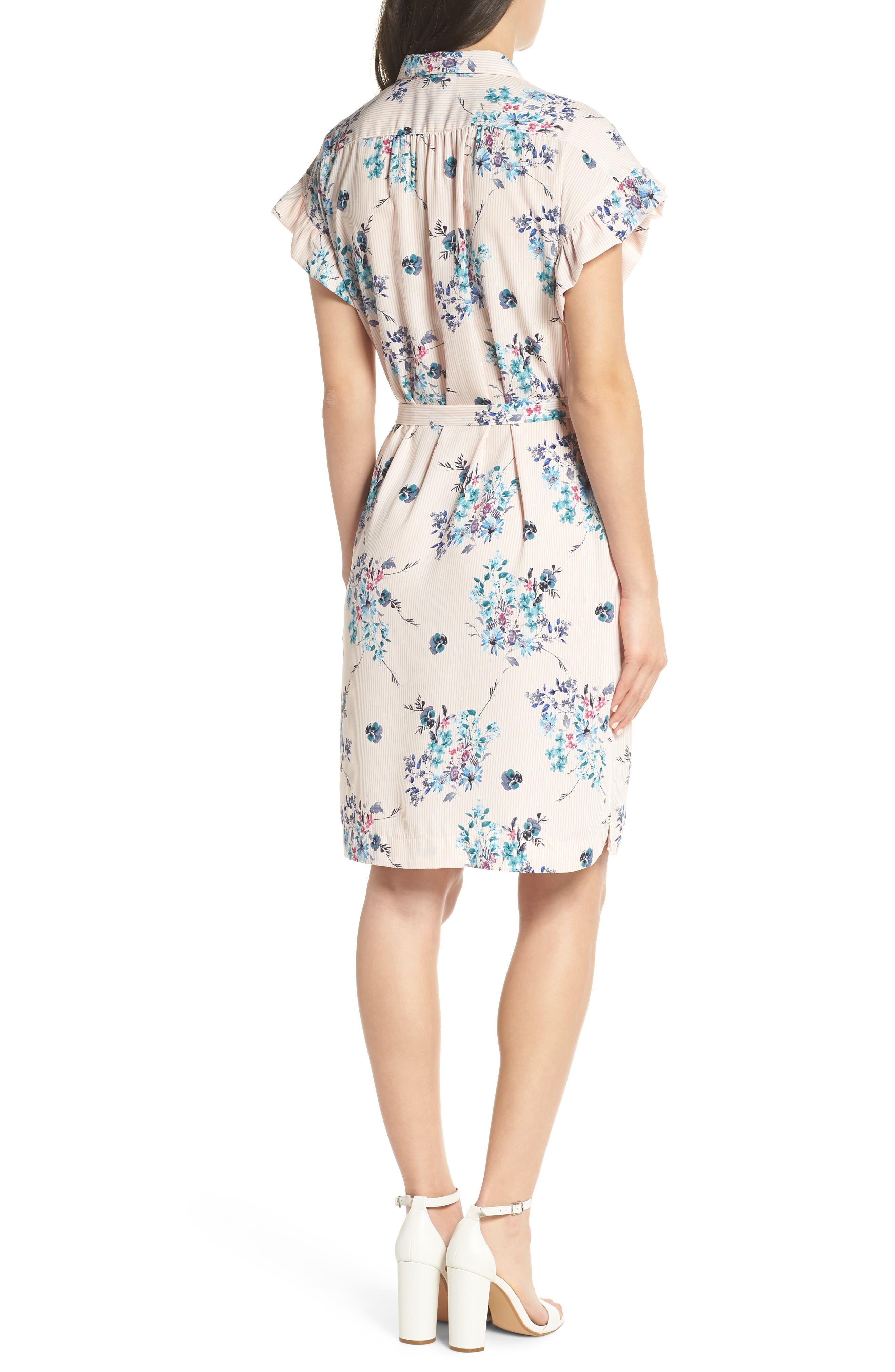 MARY & MABEL,                             Ruffle Sleeve Shirt Dress,                             Alternate thumbnail 2, color,                             652