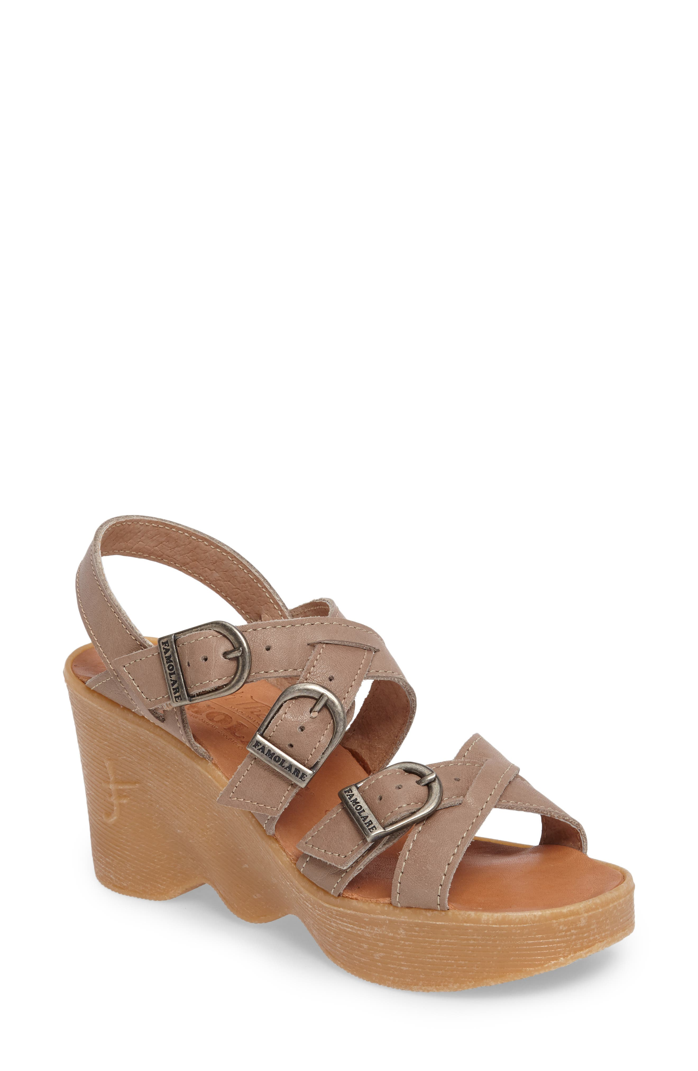 Buckle Up Wedge Sandal,                             Main thumbnail 1, color,                             SAND LEATHER