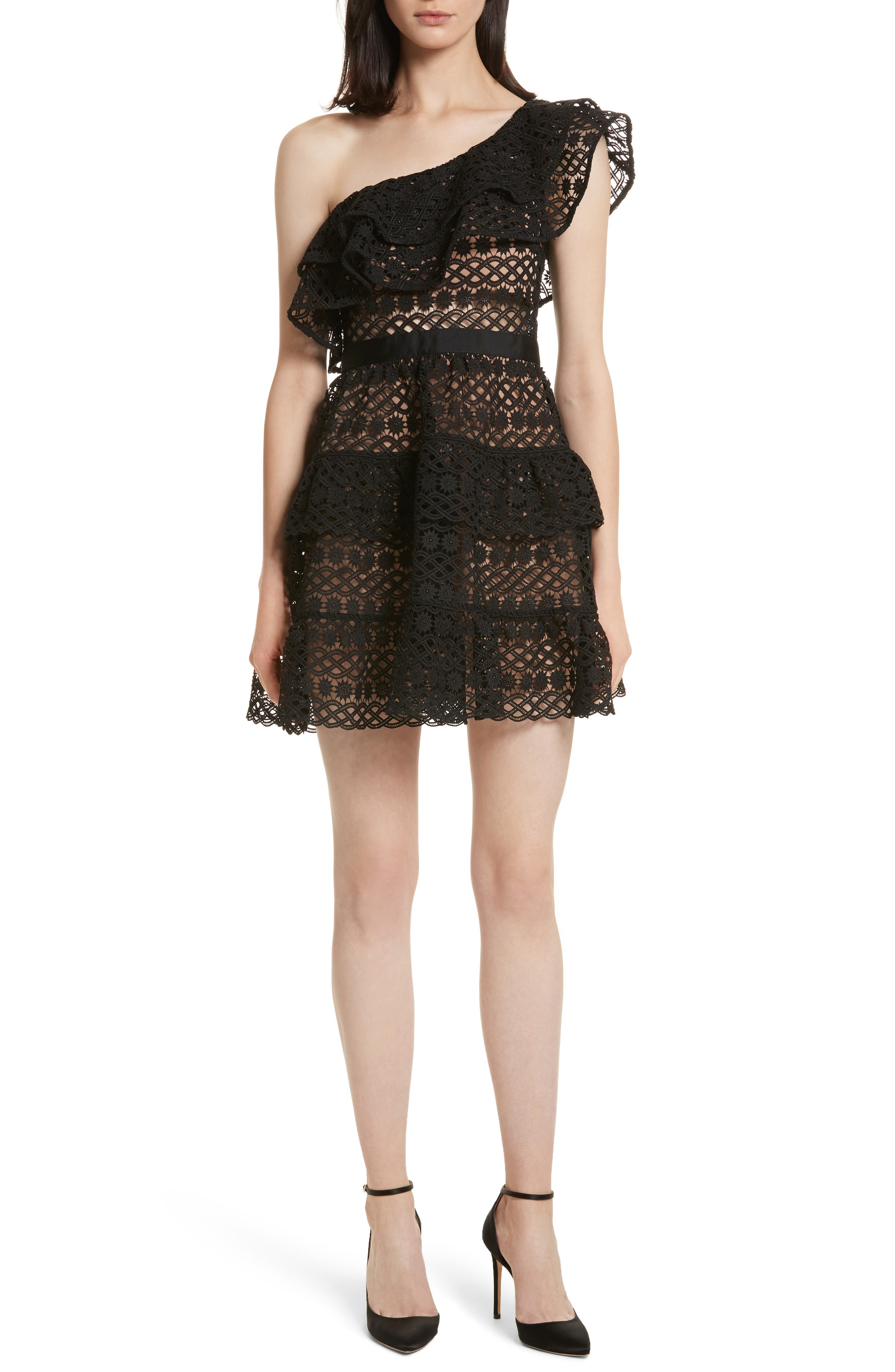 Floral Chain Lace One-Shoulder Dress,                             Main thumbnail 1, color,                             001