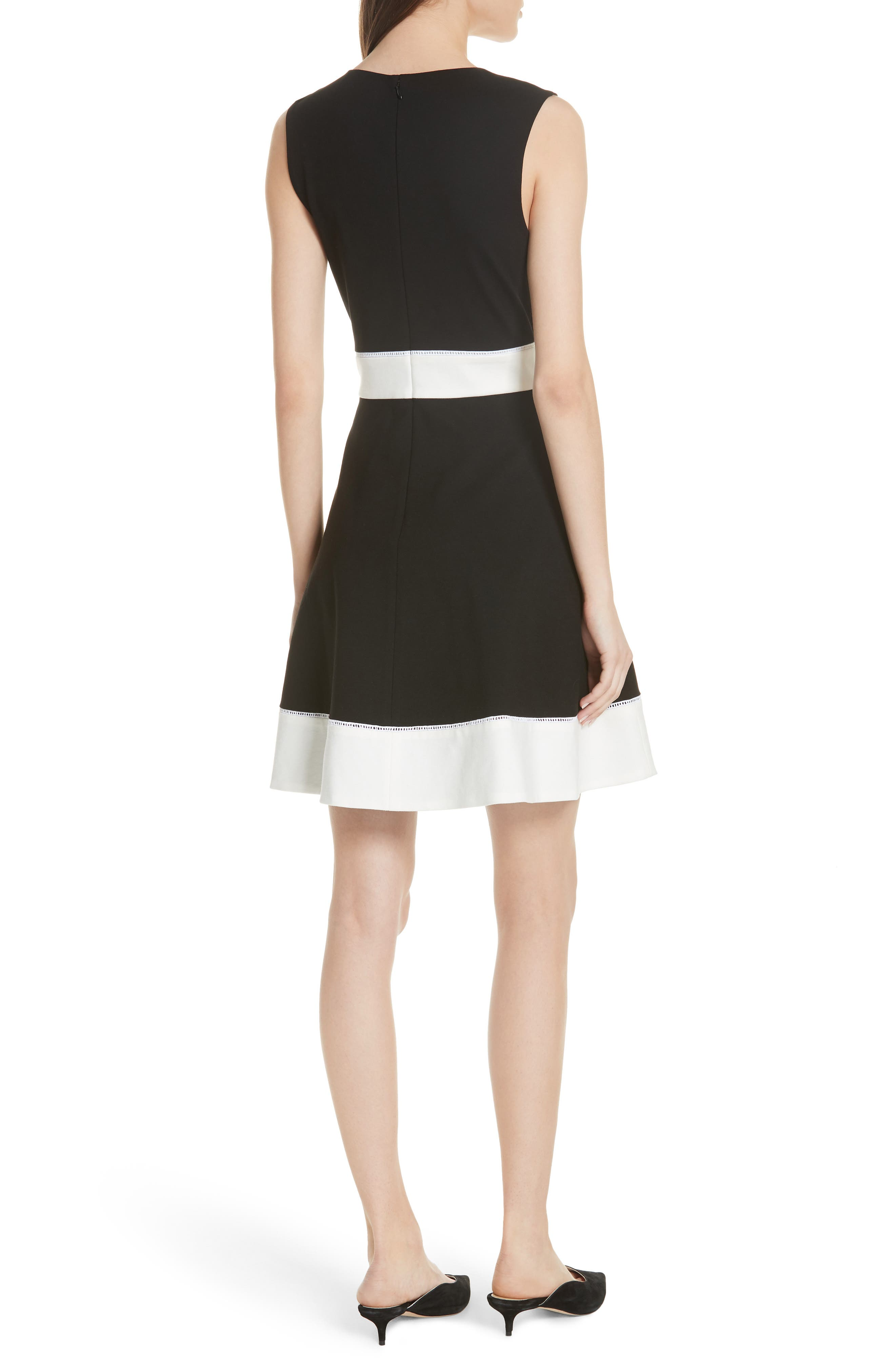 colorblock ponte a-line dress,                             Alternate thumbnail 2, color,                             001