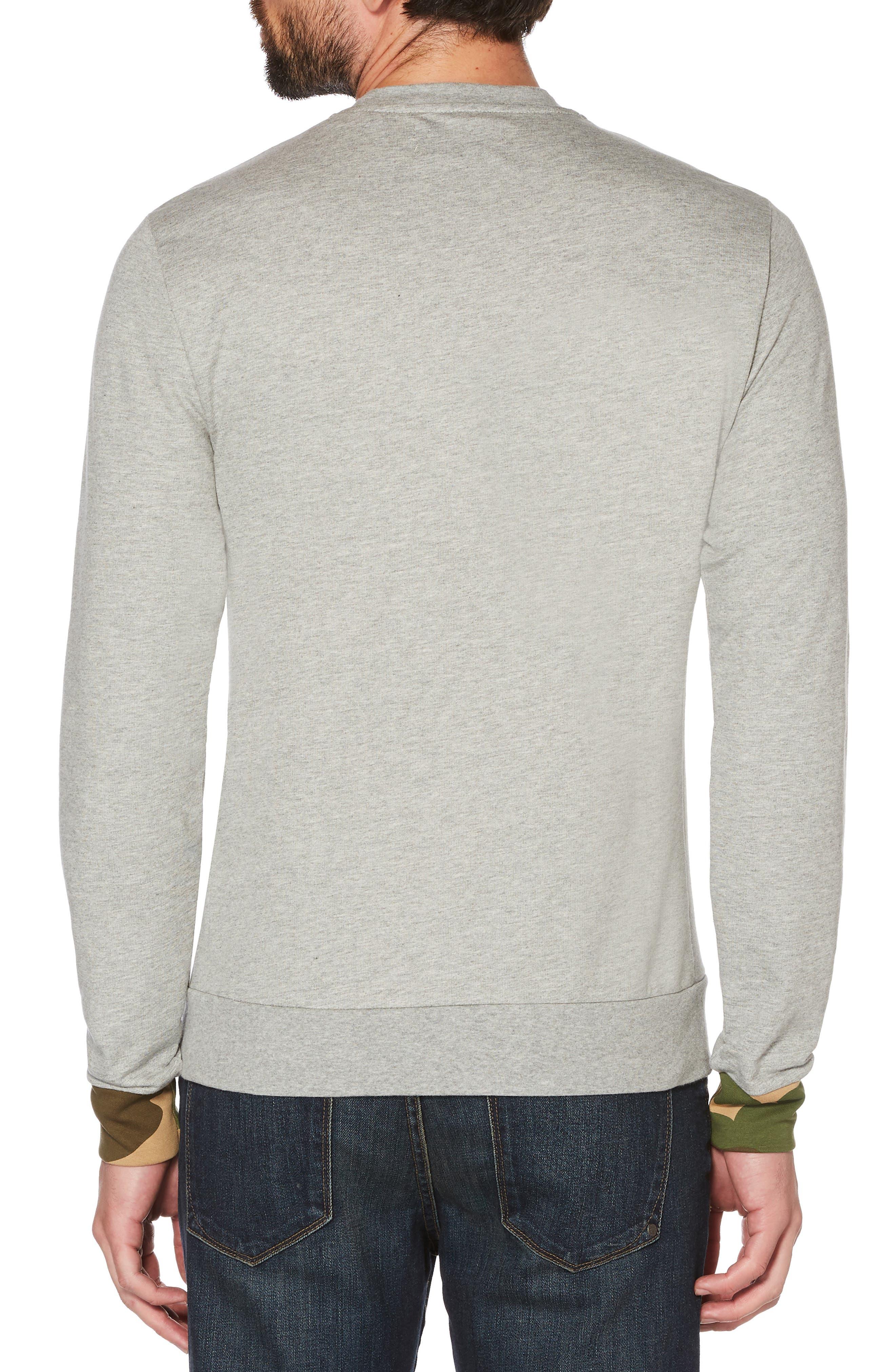 Camo Cuff Sweatshirt,                             Alternate thumbnail 2, color,                             RAIN HEATHER