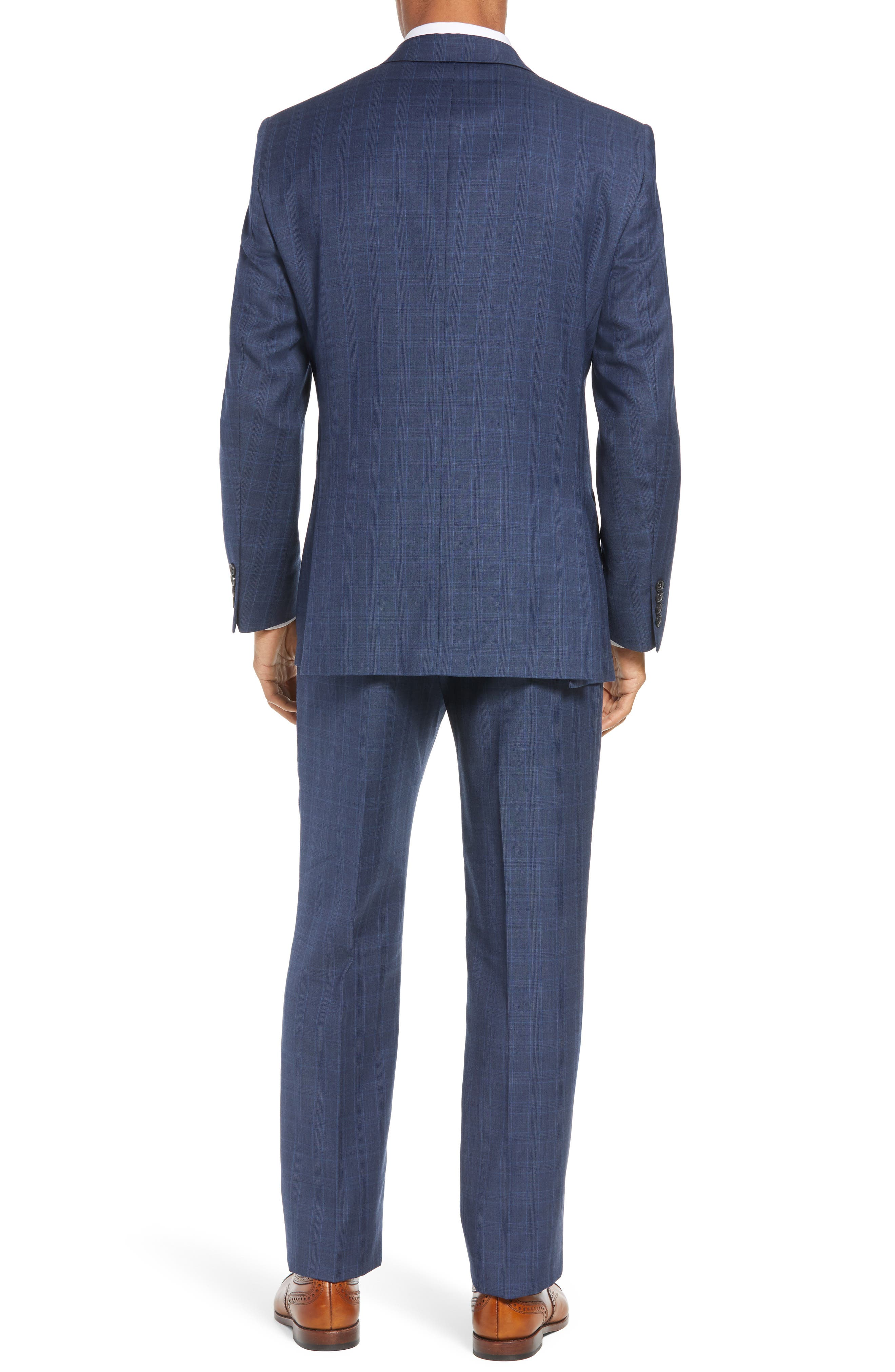 New York Classic Fit Plaid Wool Suit,                             Alternate thumbnail 2, color,                             MED BLUE