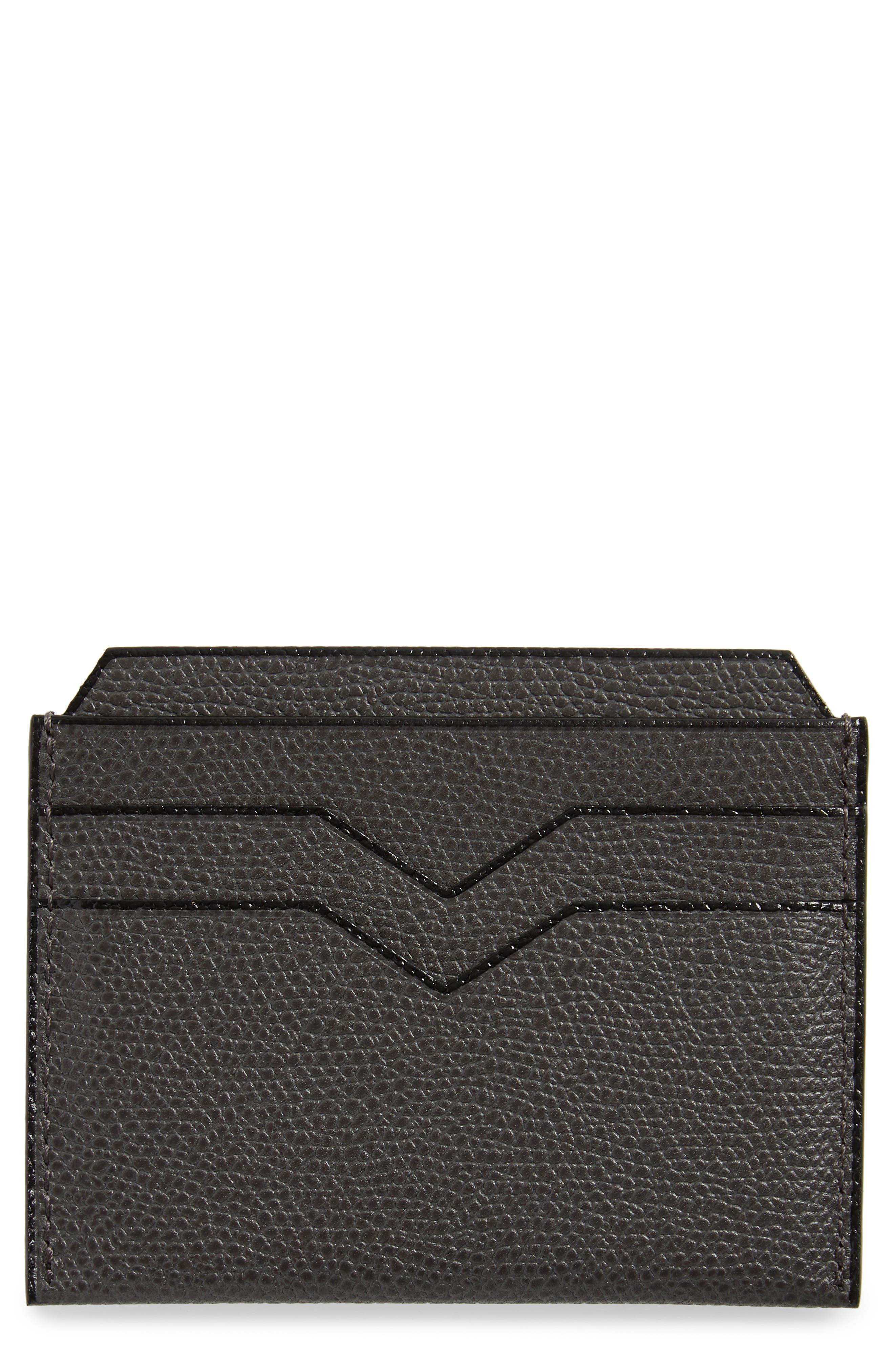 Leather Card Case, Main, color, FUMO DI LONDRA