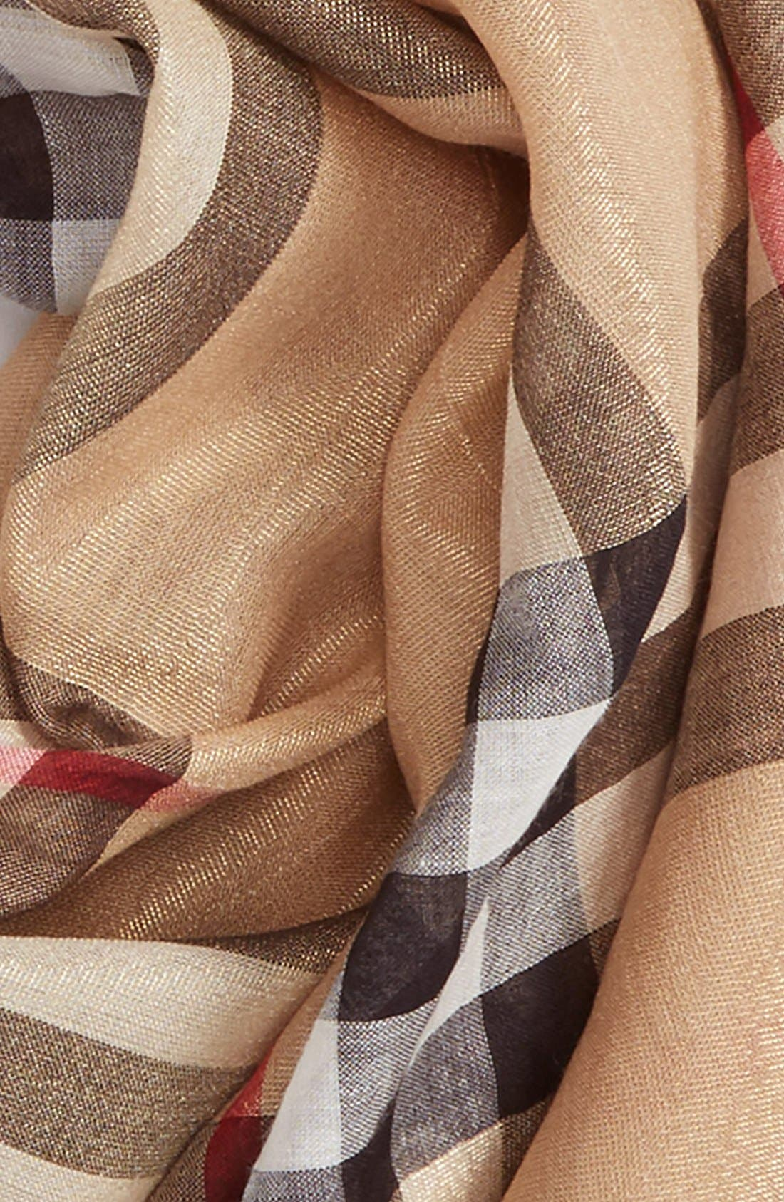 Giant Check Scarf,                             Alternate thumbnail 6, color,                             CAMEL/ GOLD