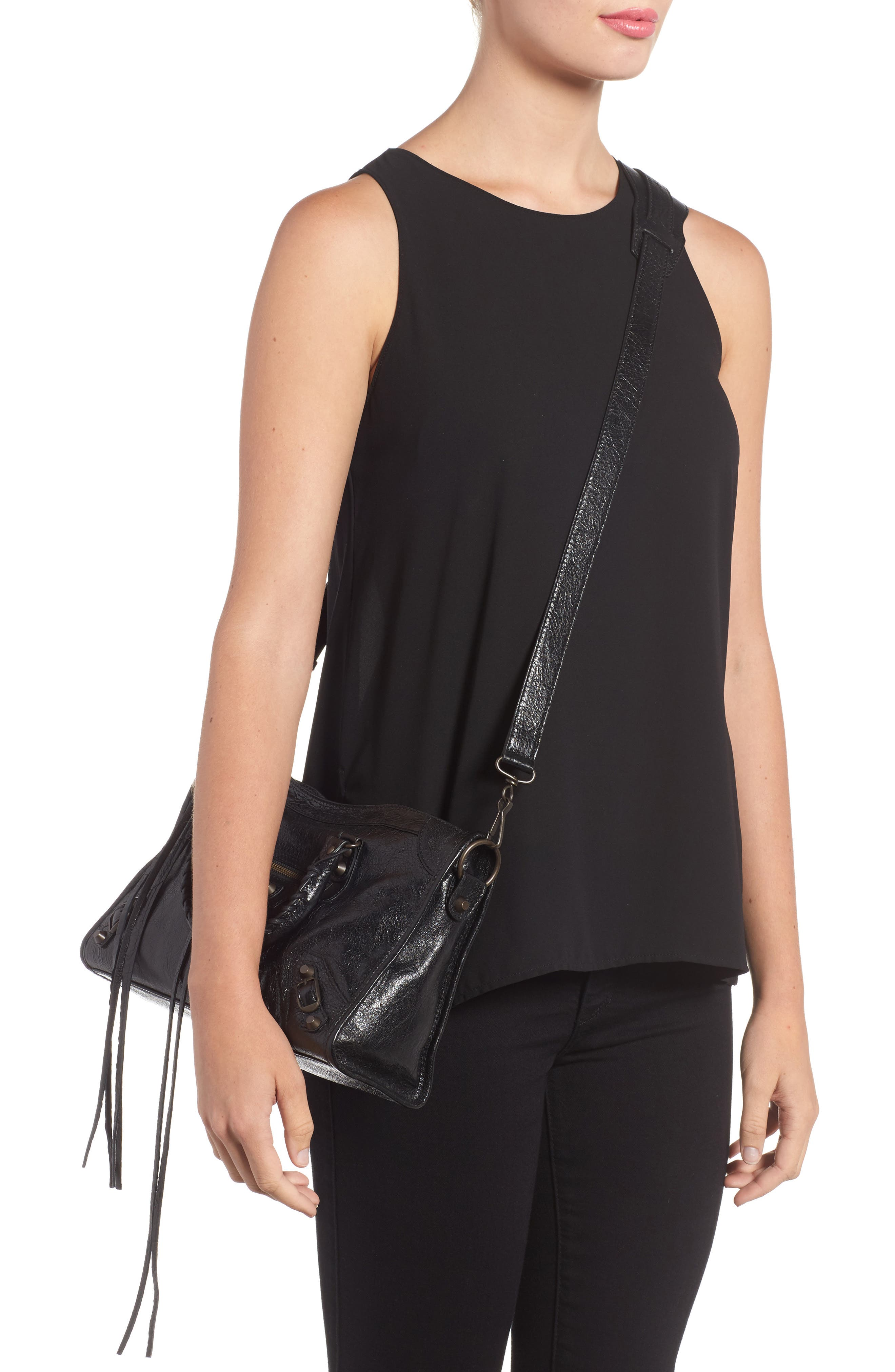 Small Classic City Leather Tote,                             Alternate thumbnail 2, color,                             1000 NOIR