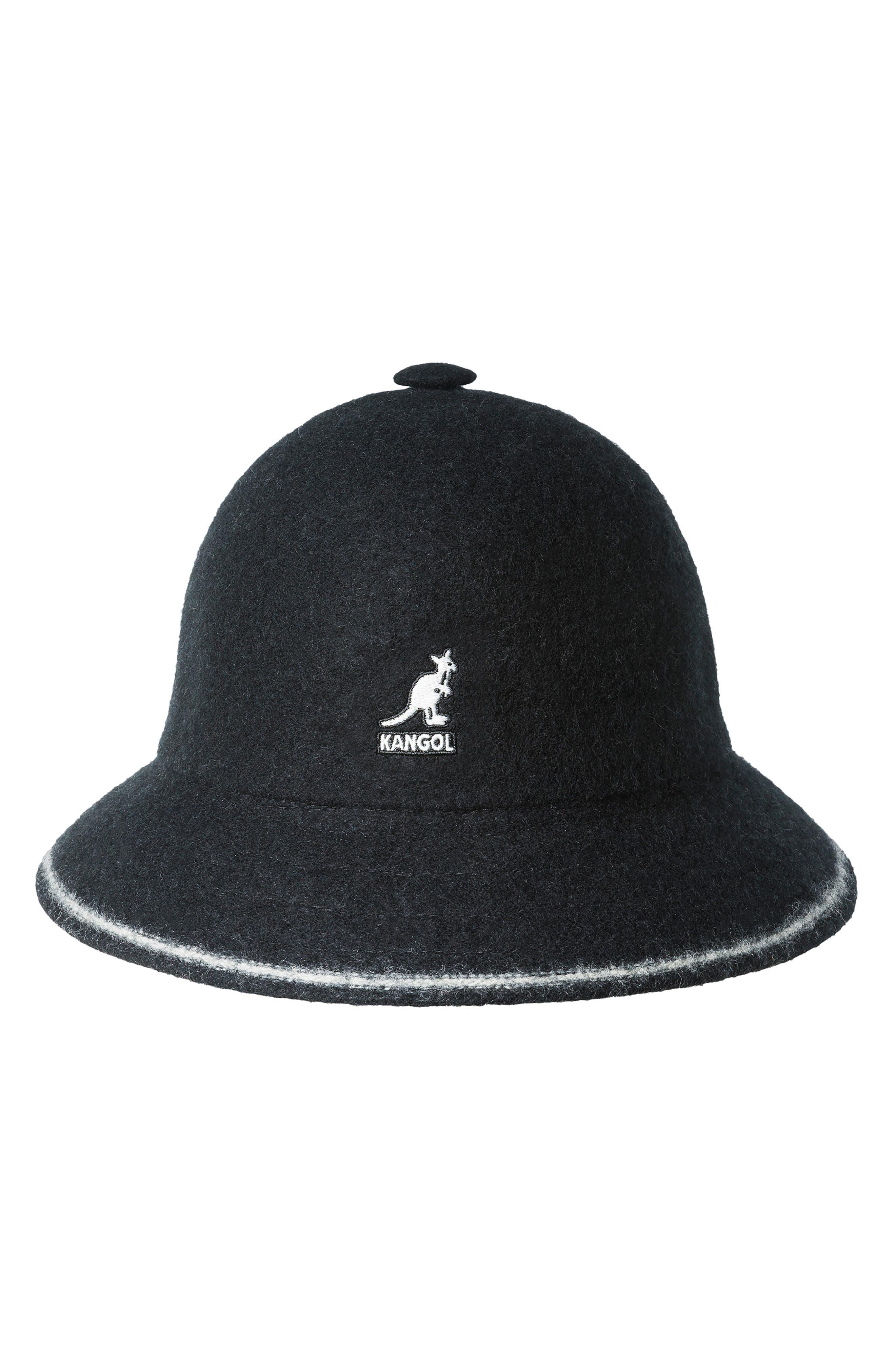 KANGOL Cloche Hat - Black in Blk/ Off Wht