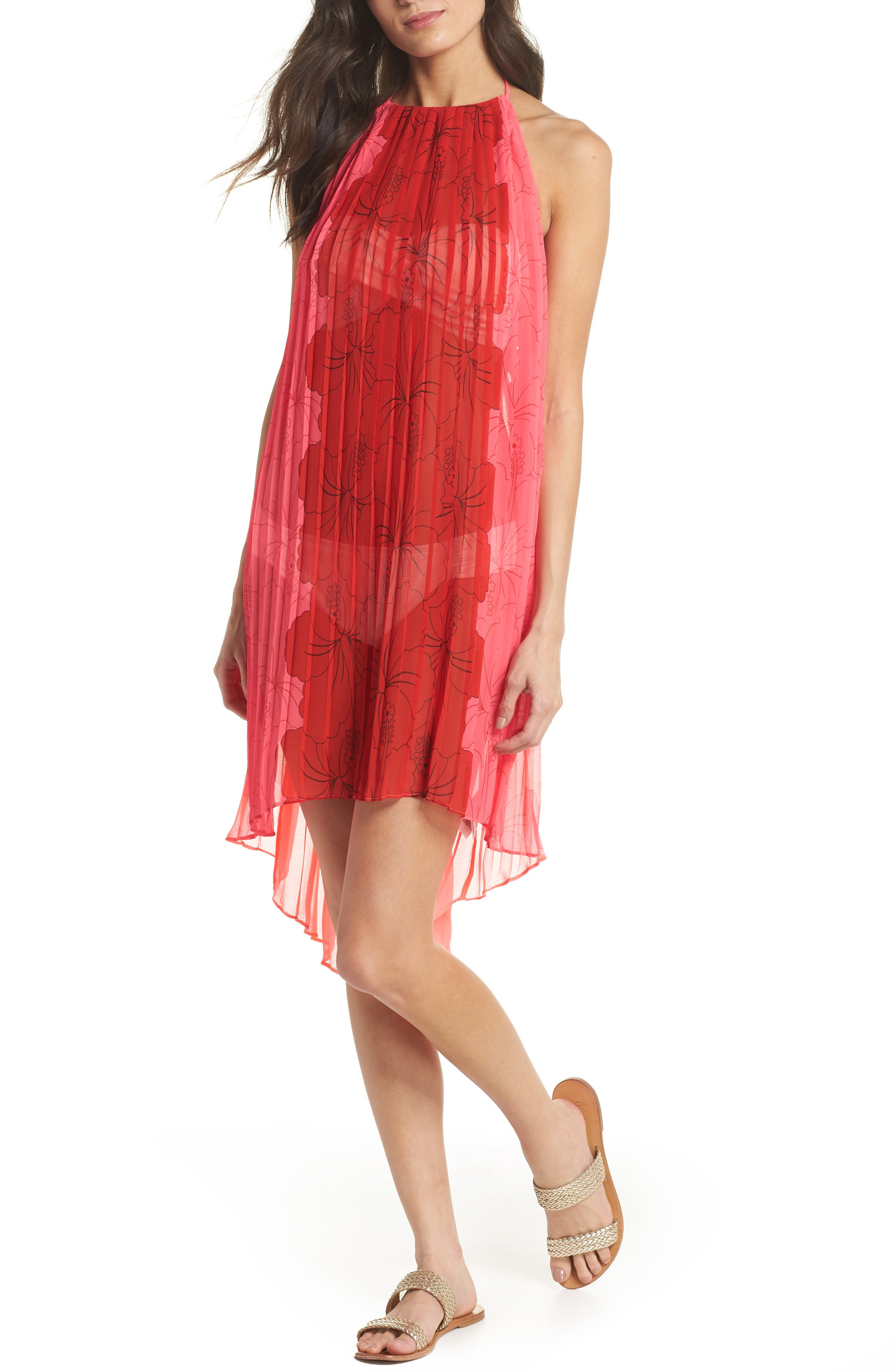 Happiness Pleated Cover-Up,                         Main,                         color, NEON PINK