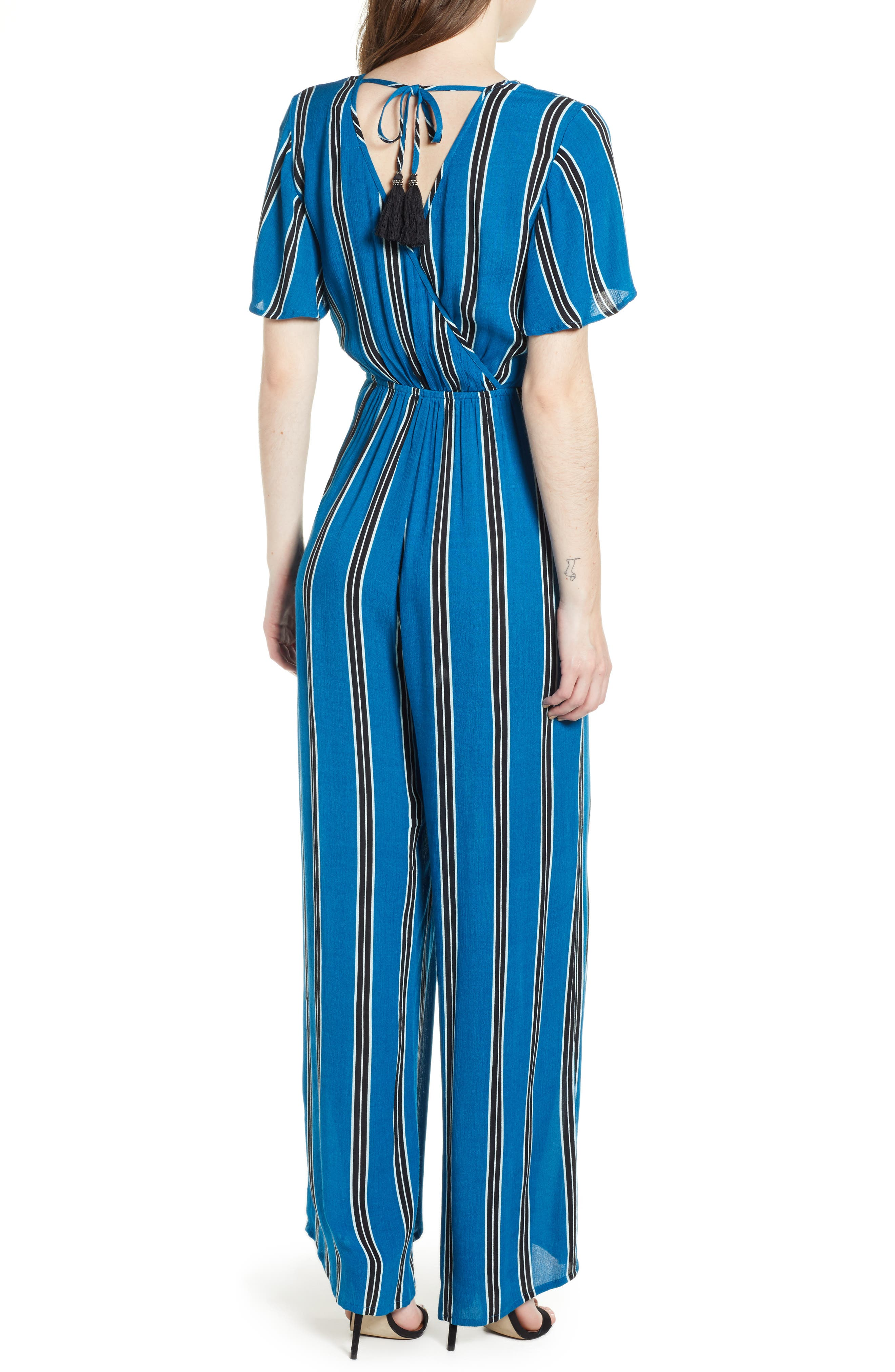 Knot Front Stripe Jumpsuit,                             Alternate thumbnail 2, color,                             BLUE/ BLACK