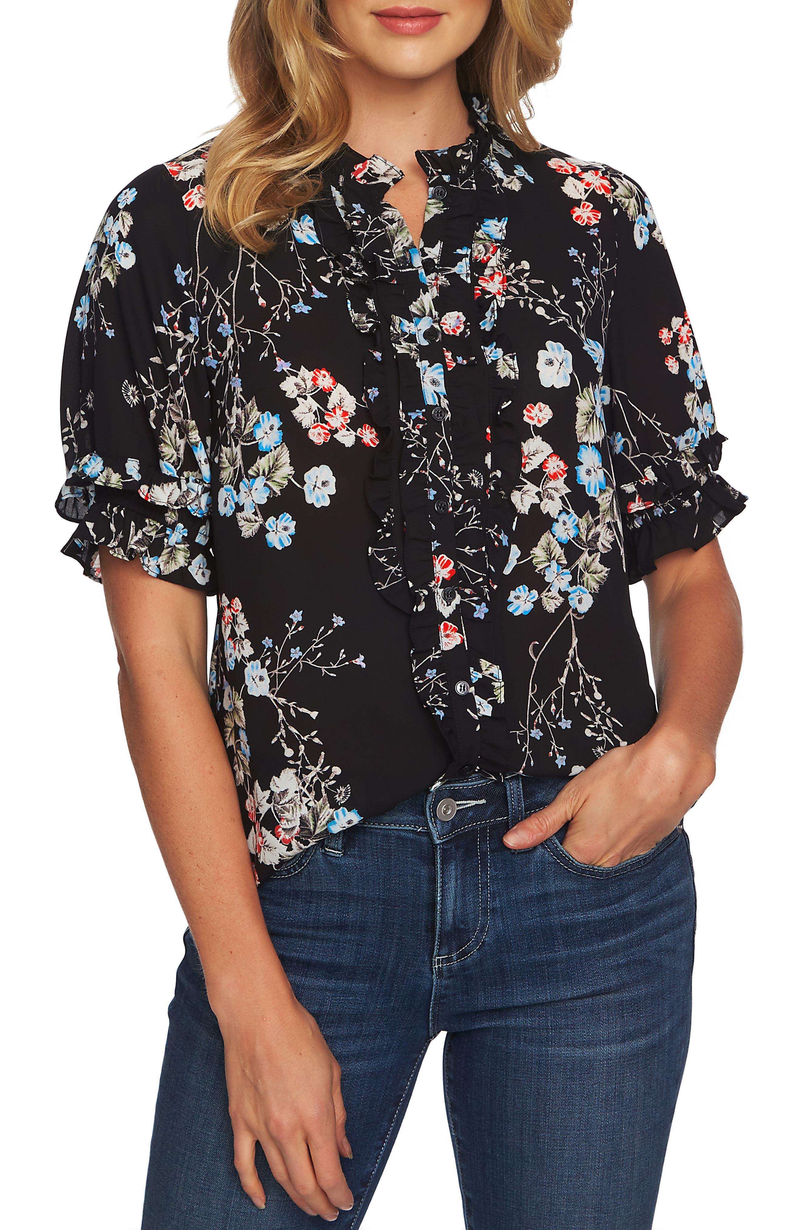CECE Divine Floral Ruffle Blouse, Main, color, RICH BLACK