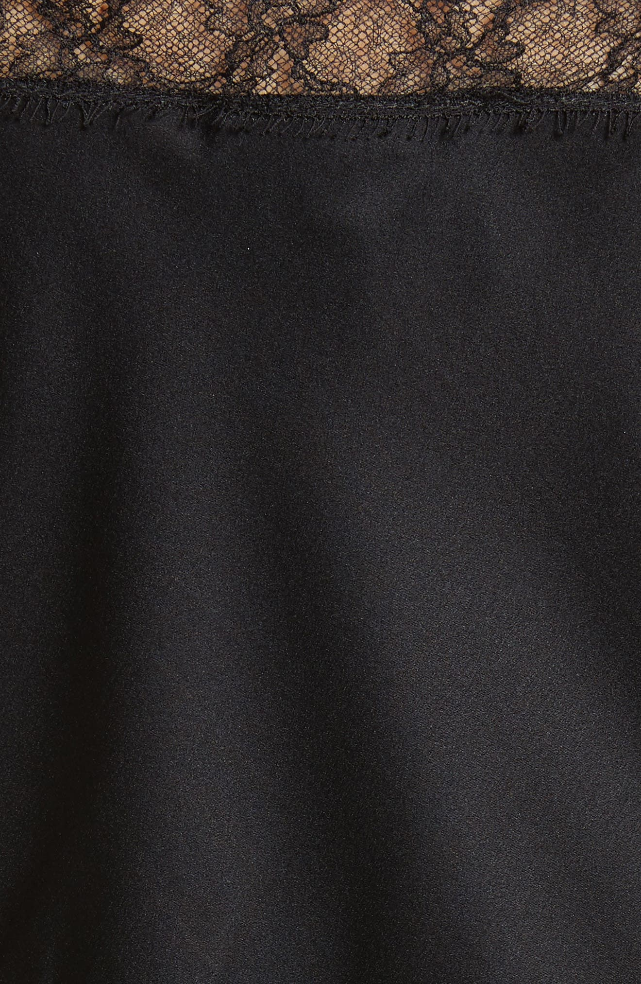 Lace Trim Stretch Silk Satin Top,                             Alternate thumbnail 5, color,                             CAVIAR