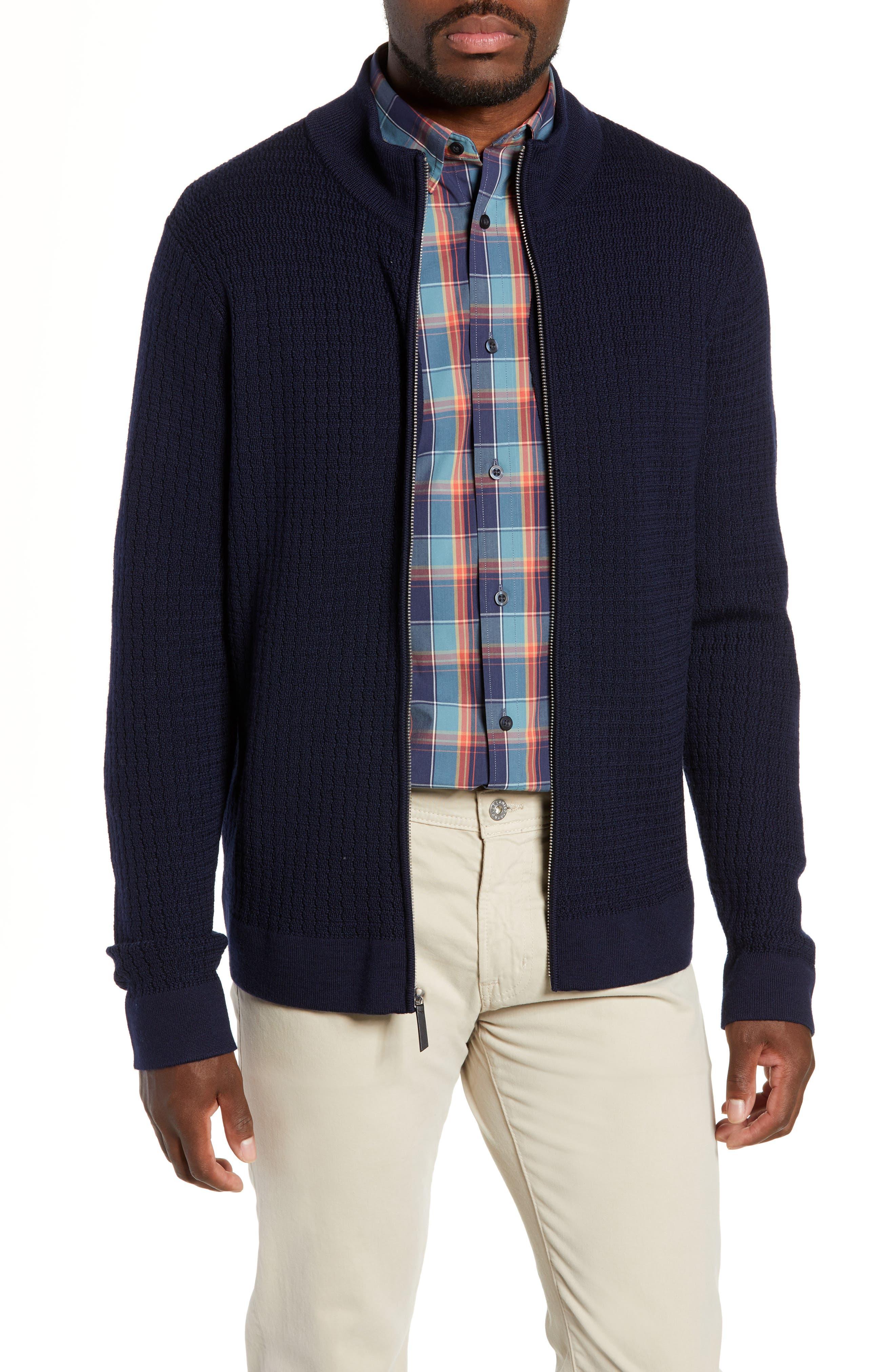 Nordstrom Signature Merino Wool Zip Cardigan, Blue
