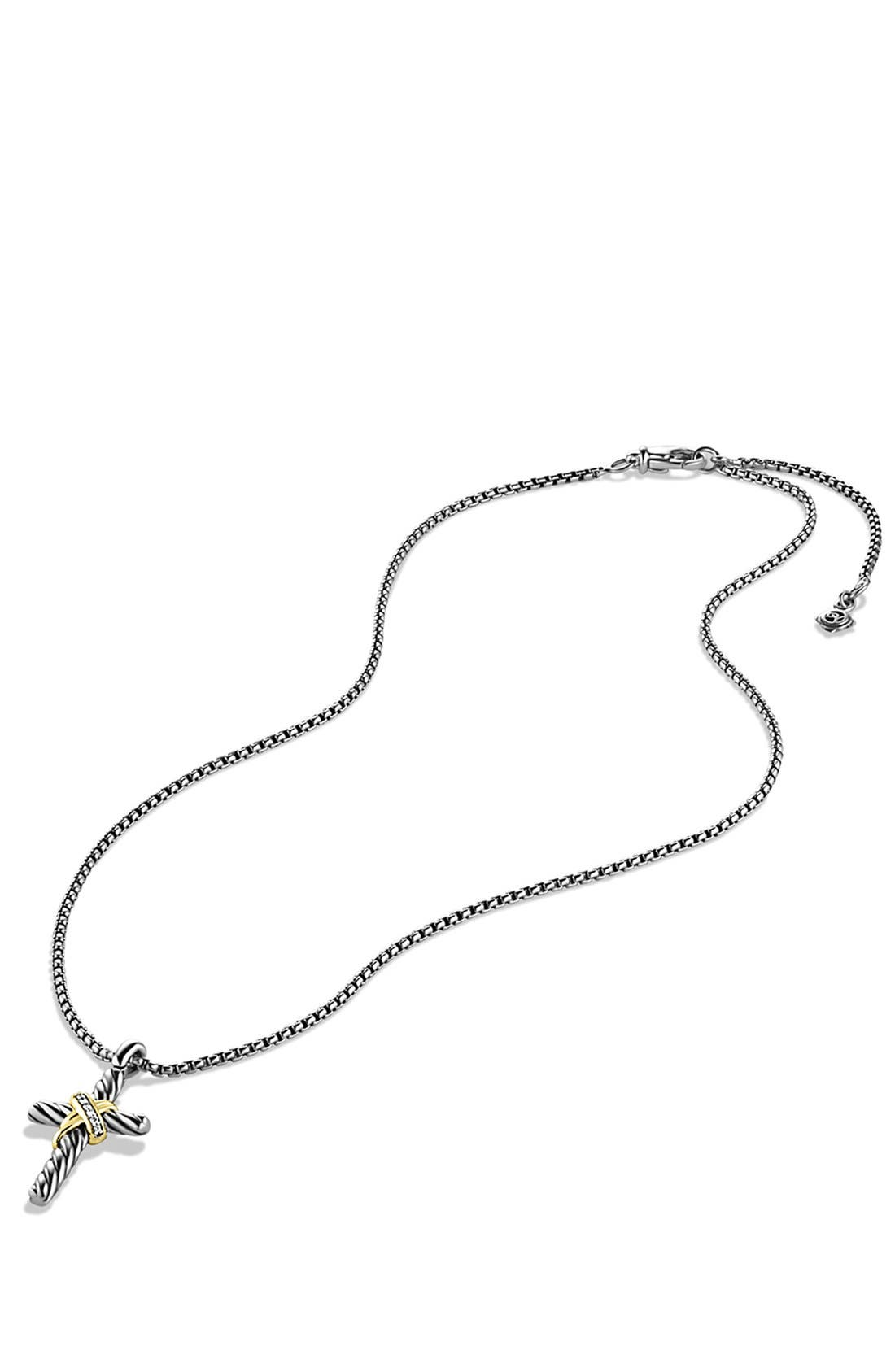 'X' Cross with Diamonds and Gold on Chain,                             Alternate thumbnail 4, color,                             DIAMOND