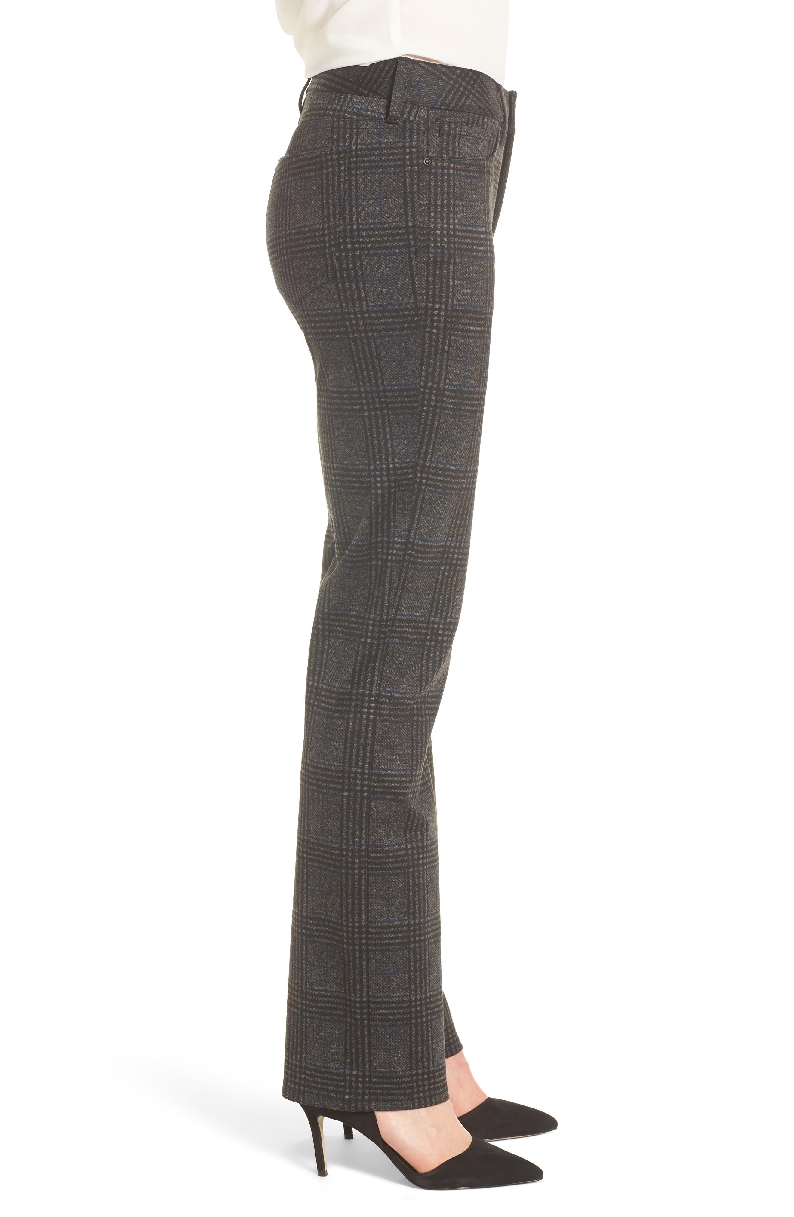 Marilyn Straight Leg Ponte Pants,                             Alternate thumbnail 3, color,                             PLAID PONTE