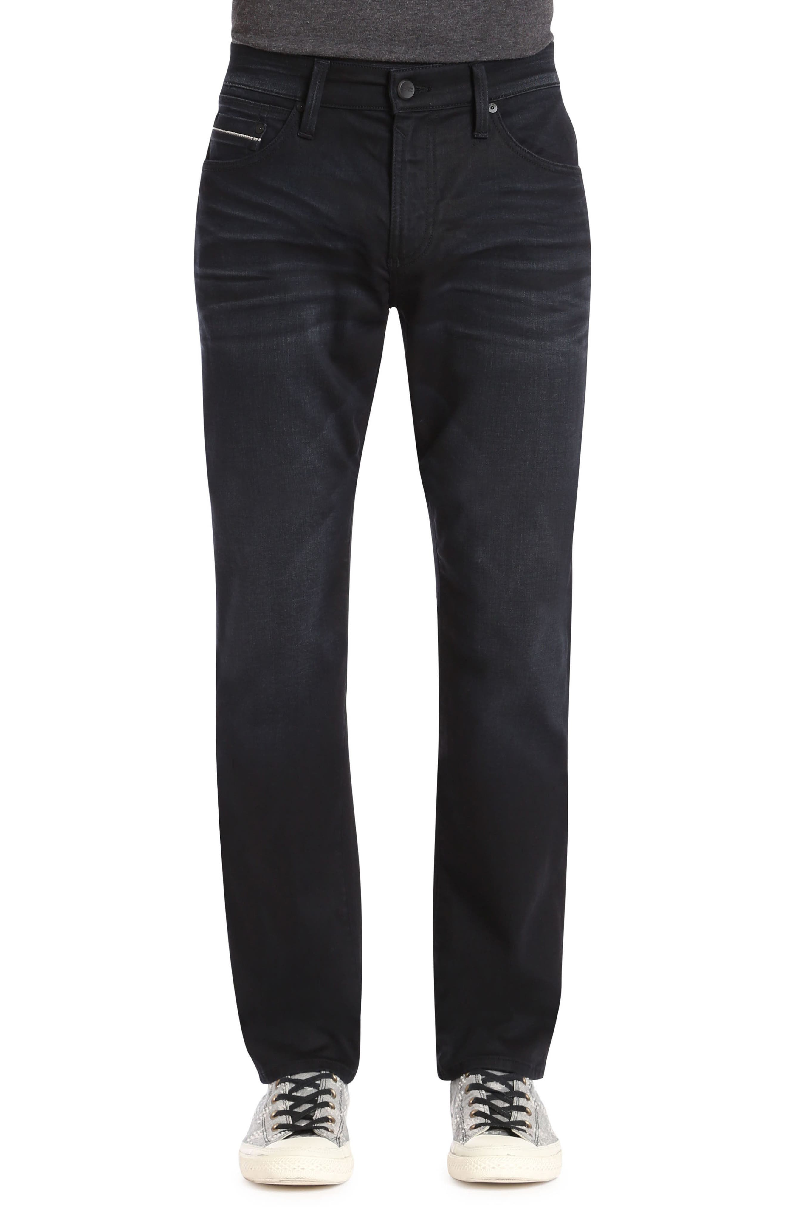 Marcus Slim Straight Leg Jeans,                         Main,                         color, DEEP BLUE WHITE EDGE