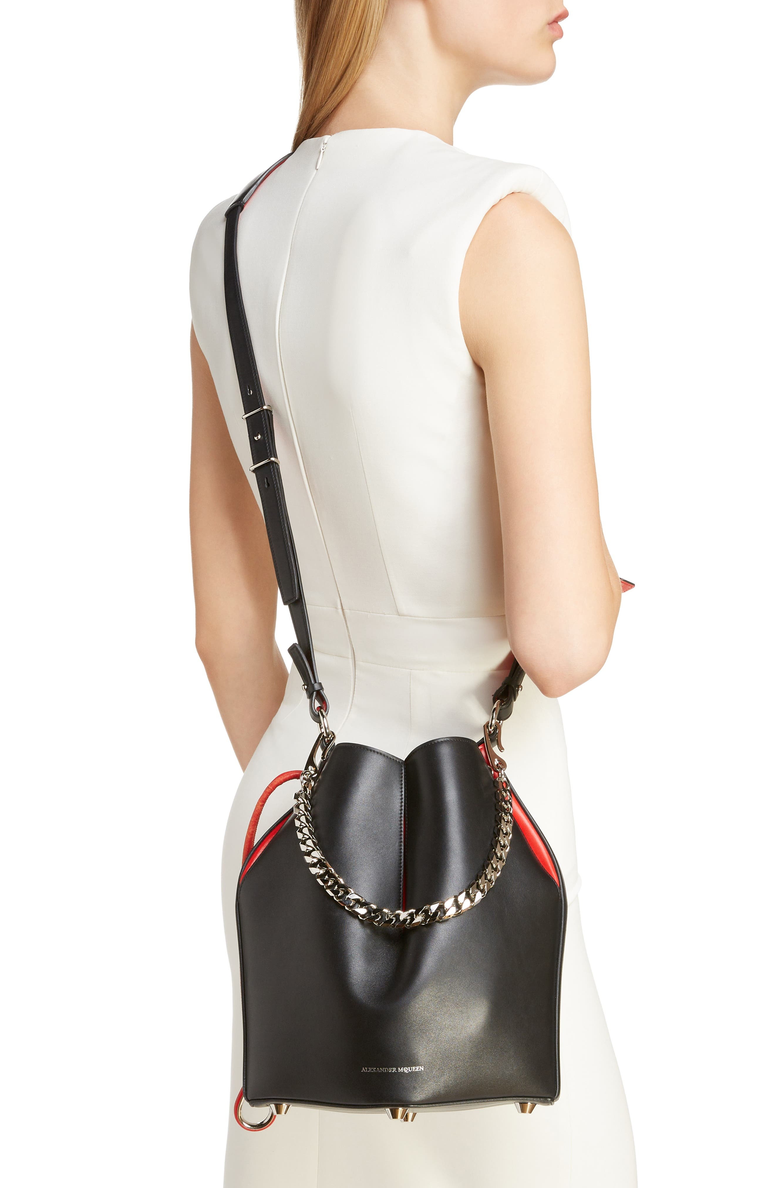 Bicolor Leather Bucket Bag,                             Alternate thumbnail 2, color,                             BLACK/ LUST RED