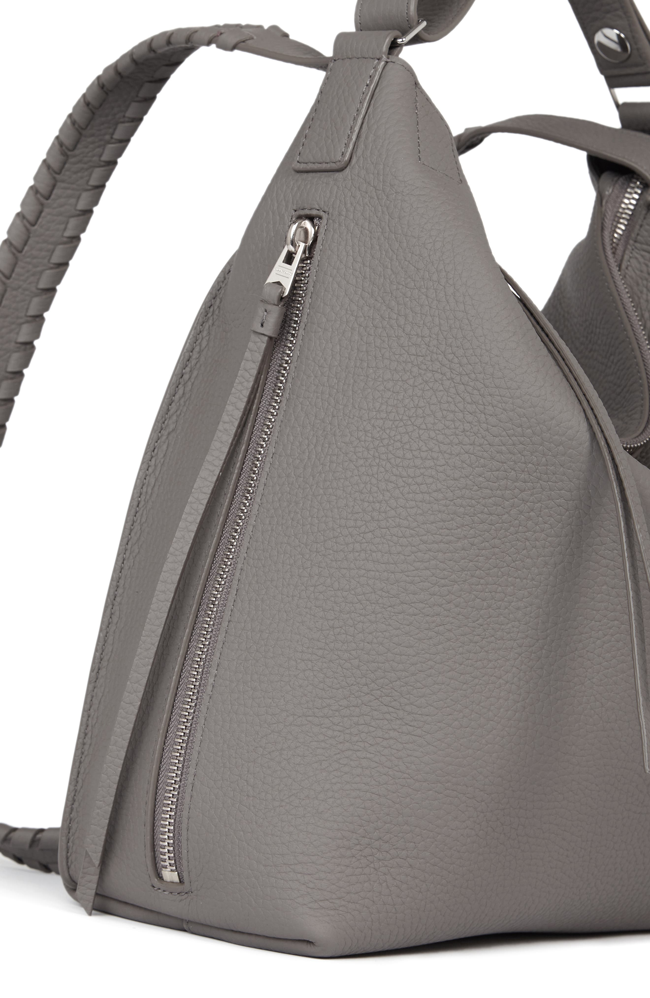 ALLSAINTS,                             Small Kita Convertible Leather Backpack,                             Alternate thumbnail 5, color,                             STORM GREY