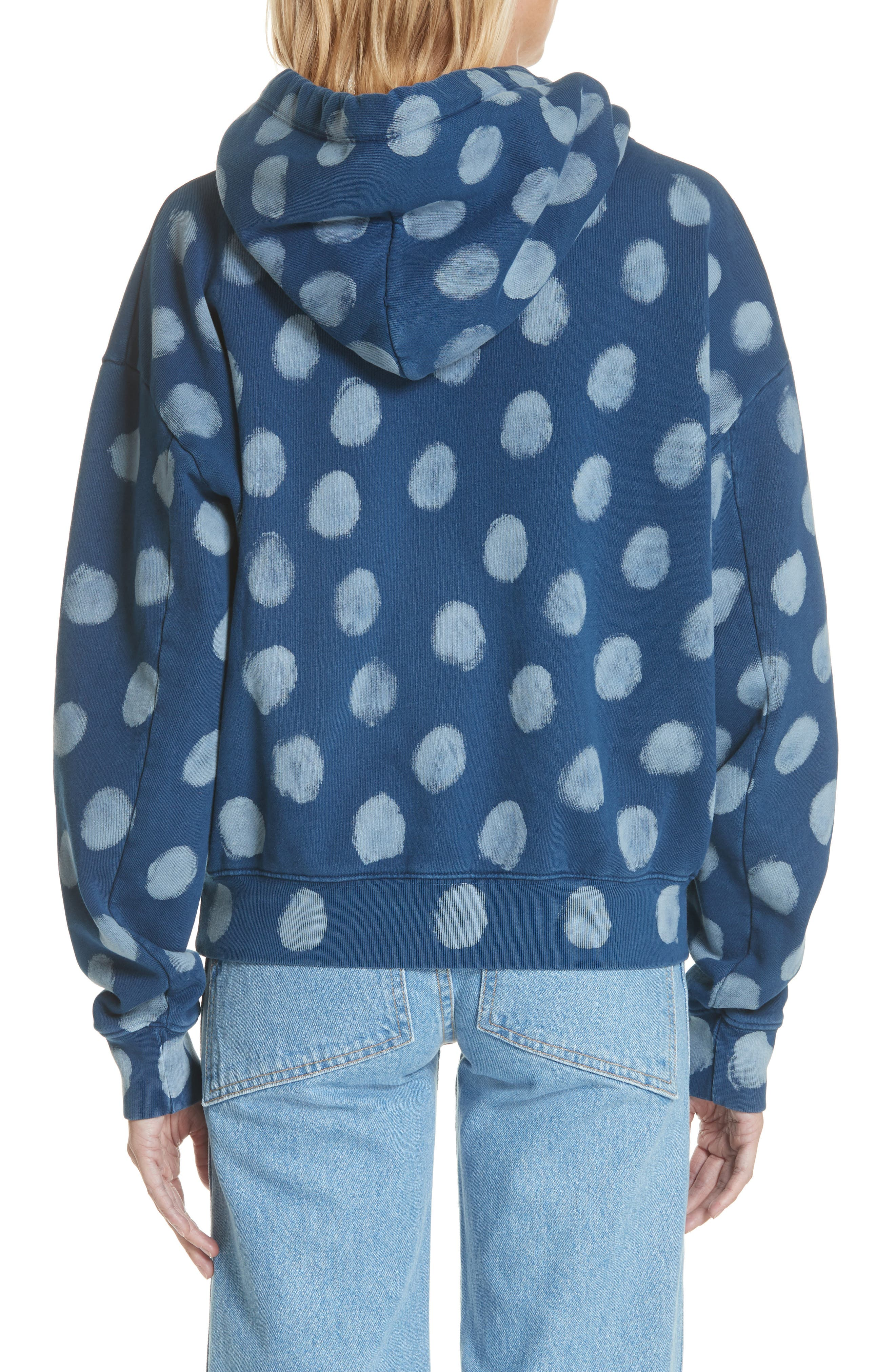 Crop Polka Dot Pullover Hoodie,                             Alternate thumbnail 2, color,                             400