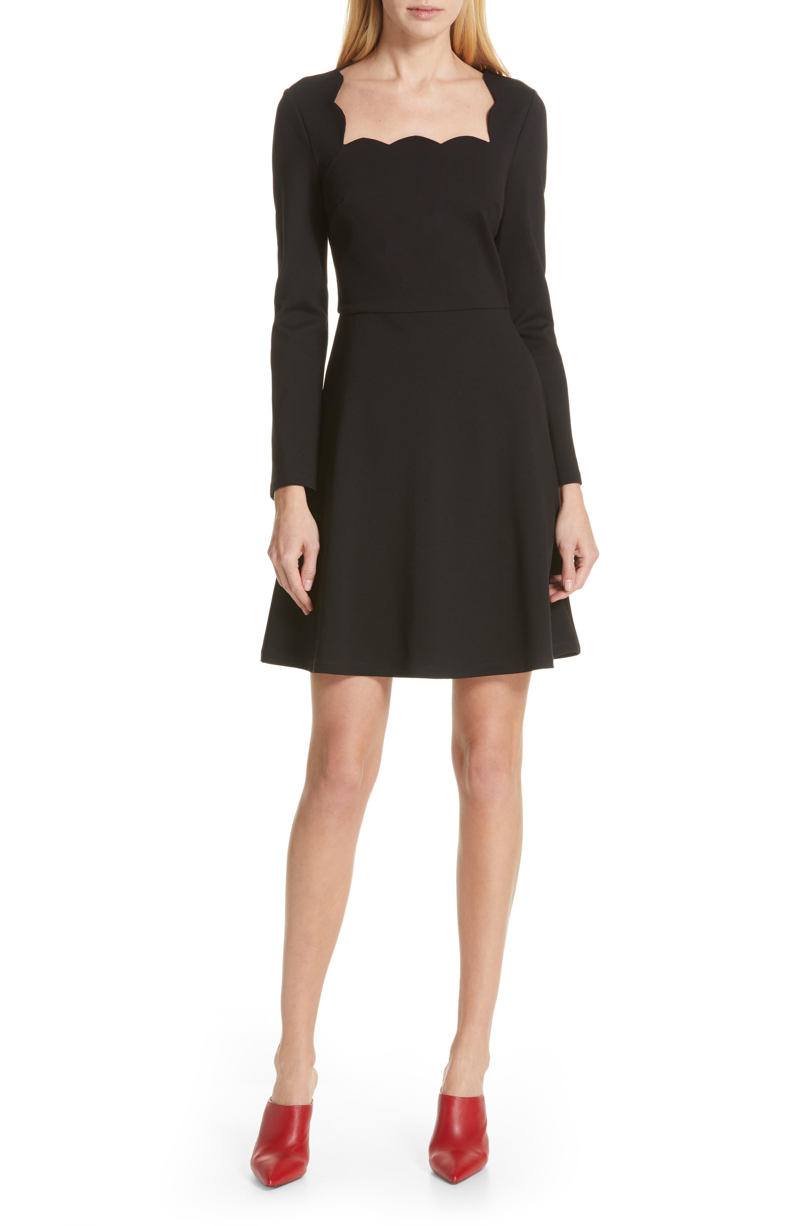 Kate Spade New York Scallop Ponte Fit & Flare Minidress, Black