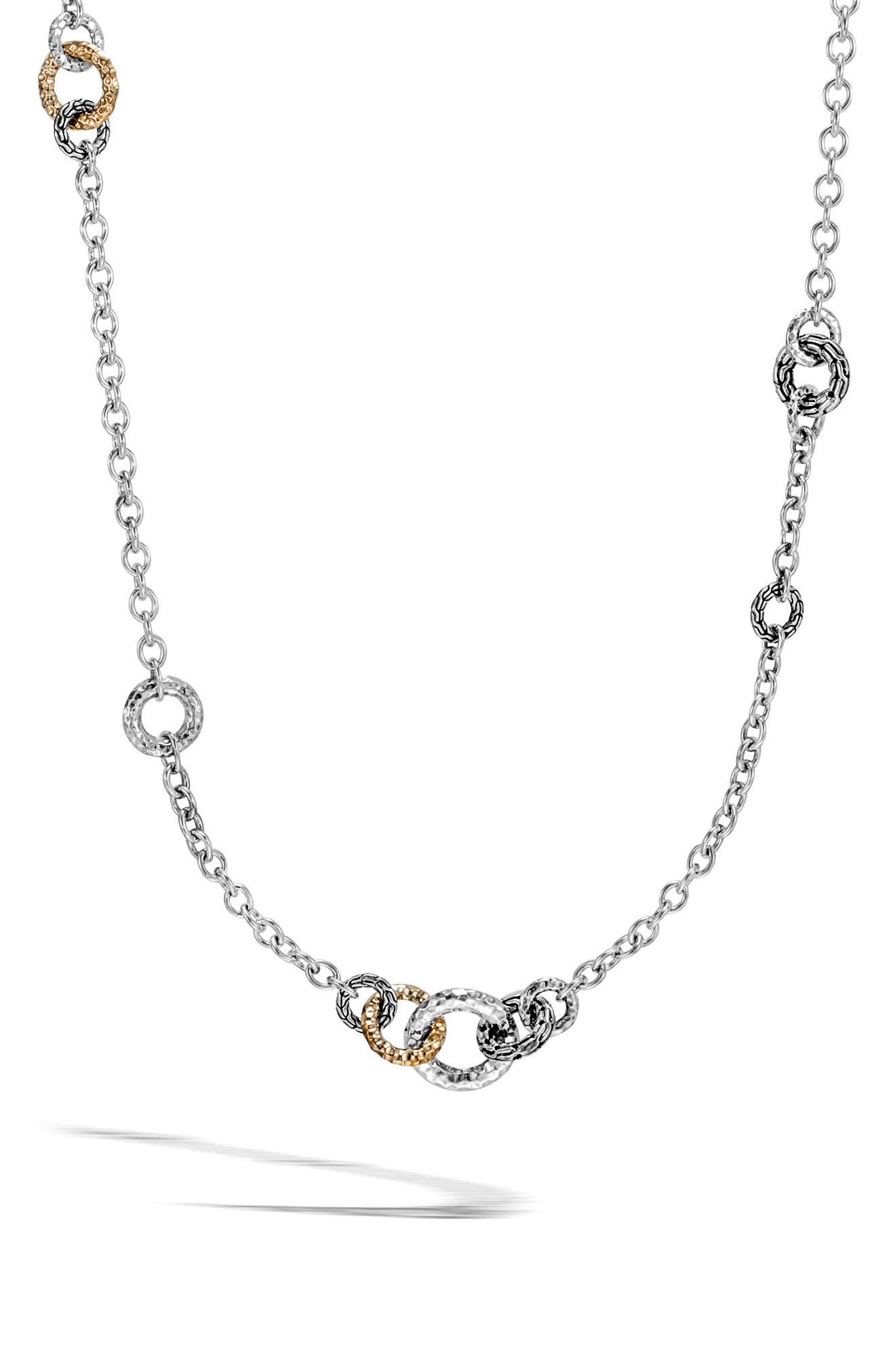 Classic Chain Hammered Link Sautoir Necklace,                         Main,                         color, GOLD/ SILVER