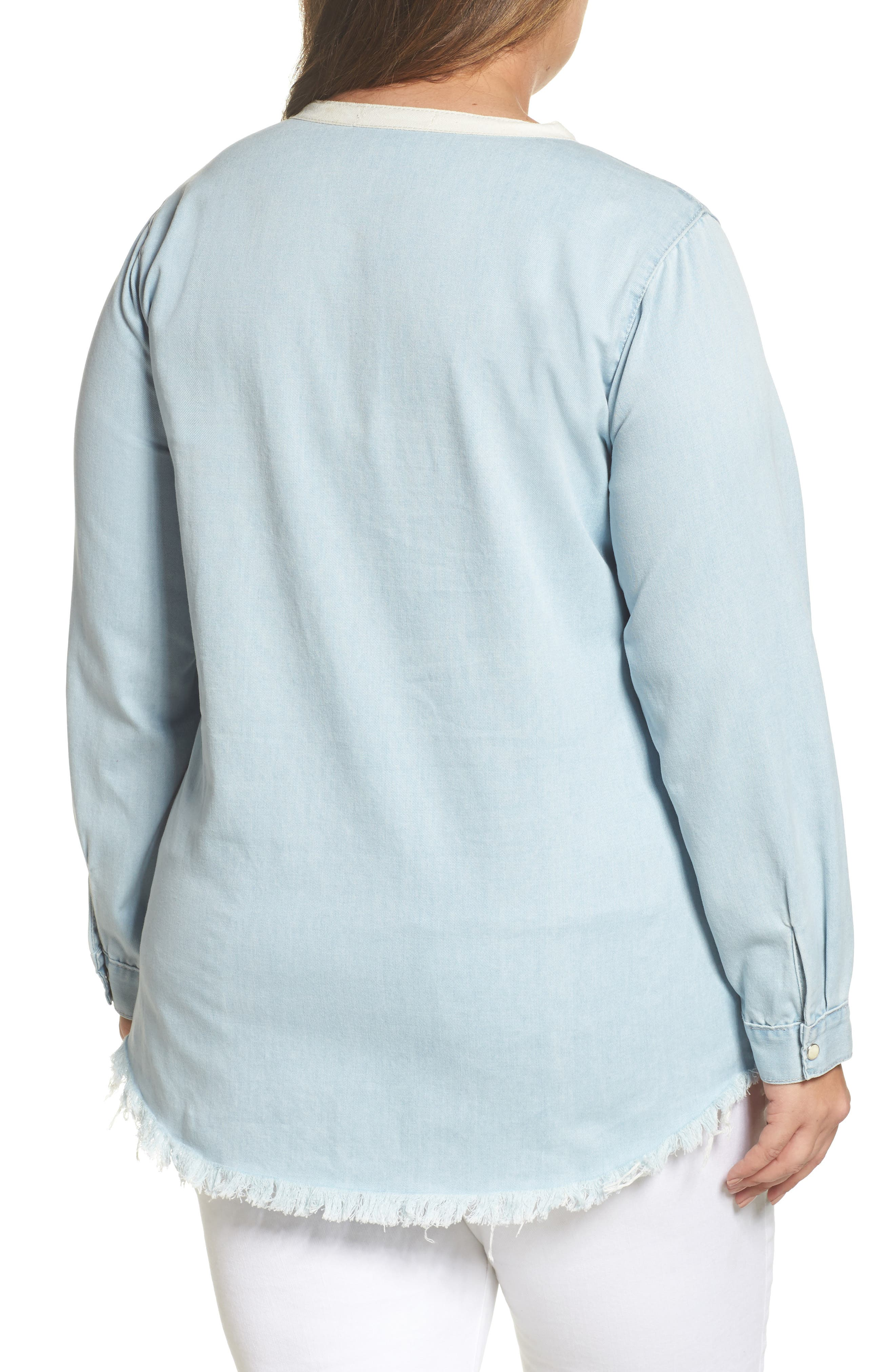 Lace-Up Chambray Top,                             Alternate thumbnail 2, color,                             400