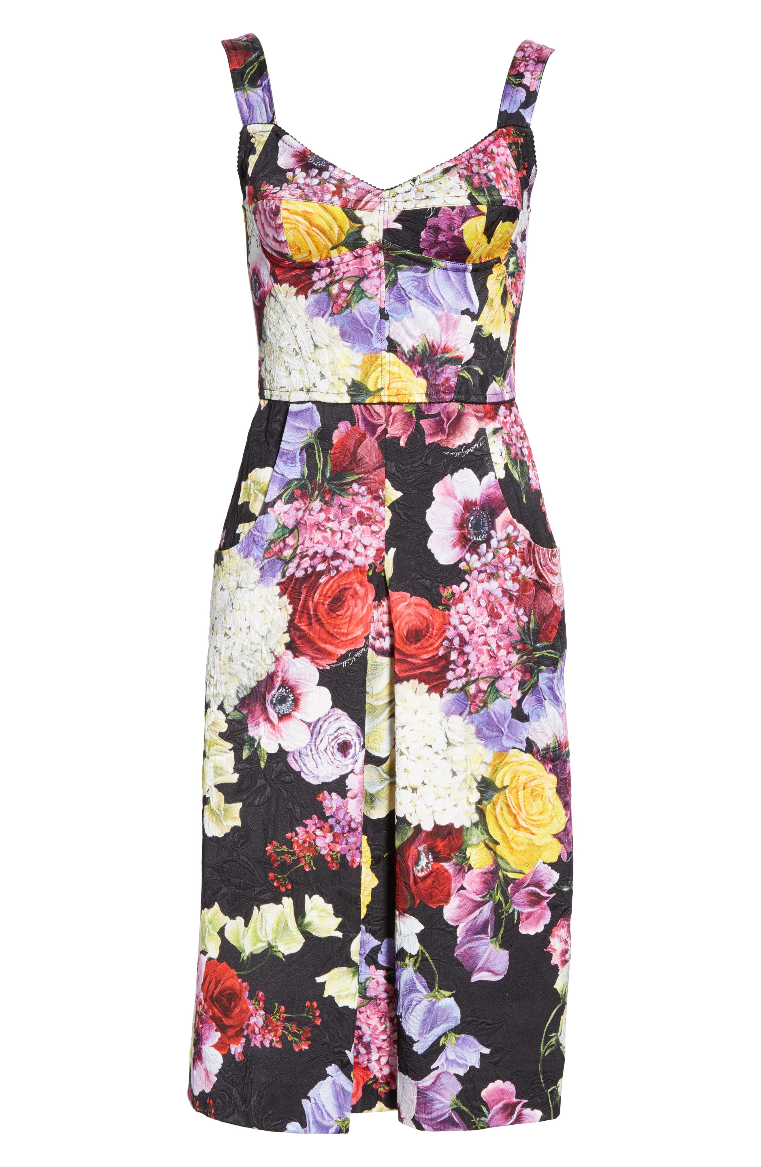 Floral Print Brocade Bustier Dress,                             Alternate thumbnail 6, color,                             HNW86 BLACK FLORAL