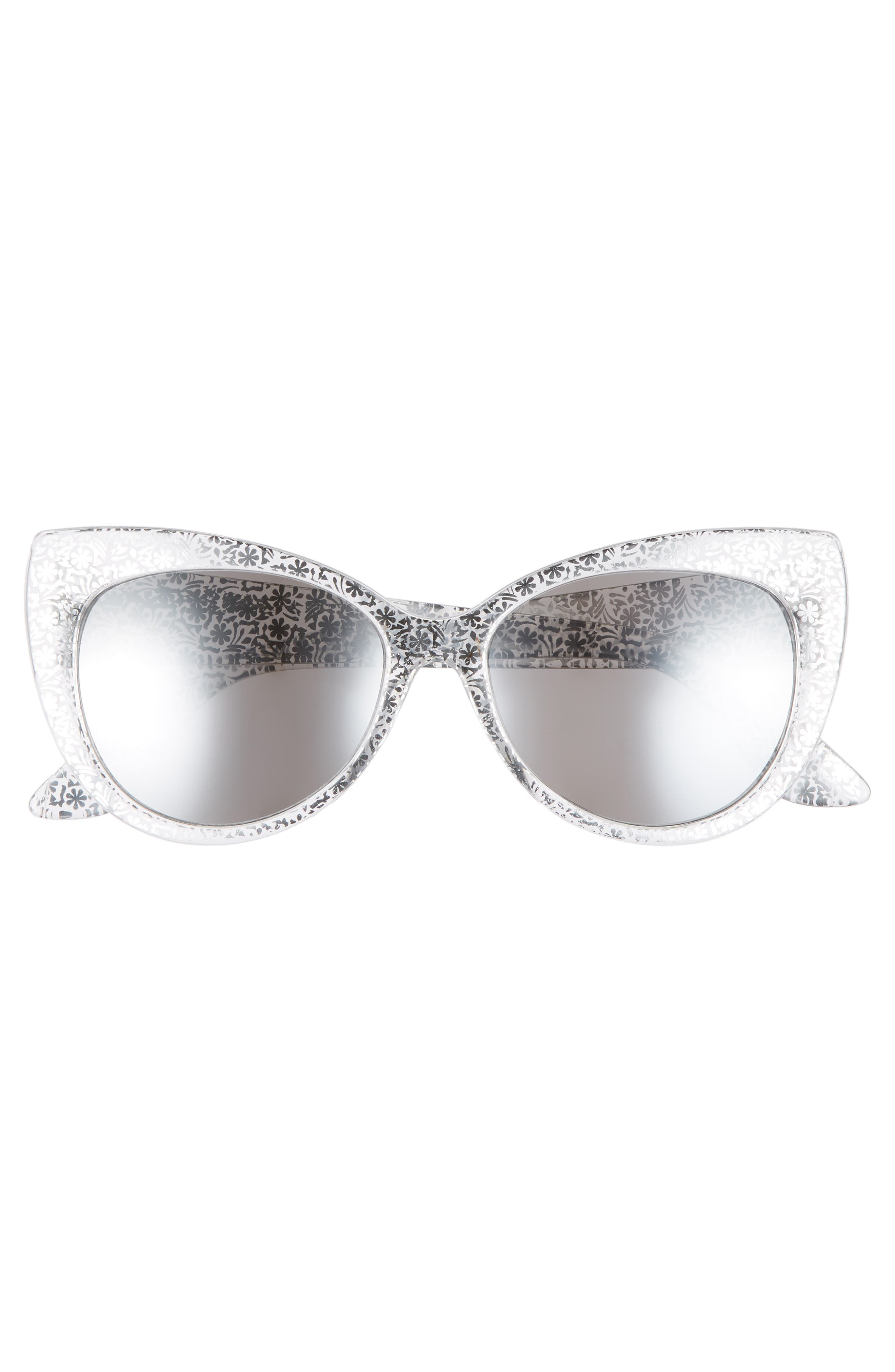 55mm Floral Cat Eye Sunglasses,                             Alternate thumbnail 3, color,                             040
