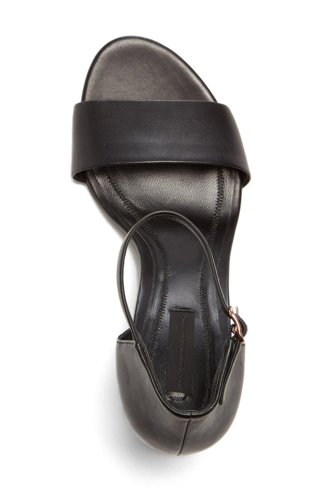 'Abby' Ankle Strap Sandal,                             Alternate thumbnail 4, color,                             BLACK/ ROSE GOLD