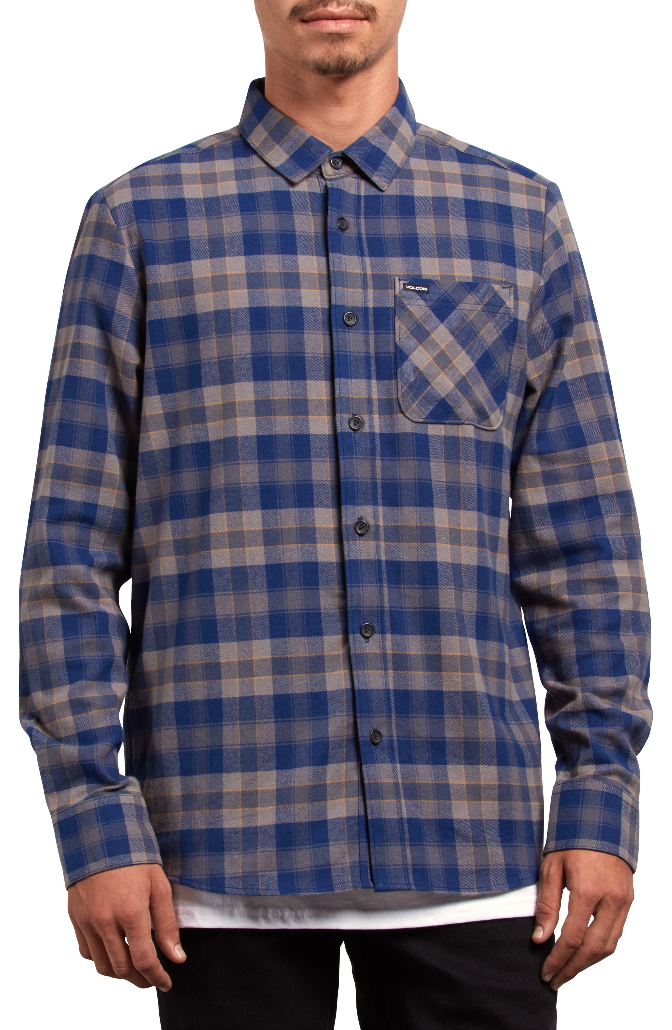 Caden Plaid Flannel Shirt,                         Main,                         color, MEDIUM BLUE