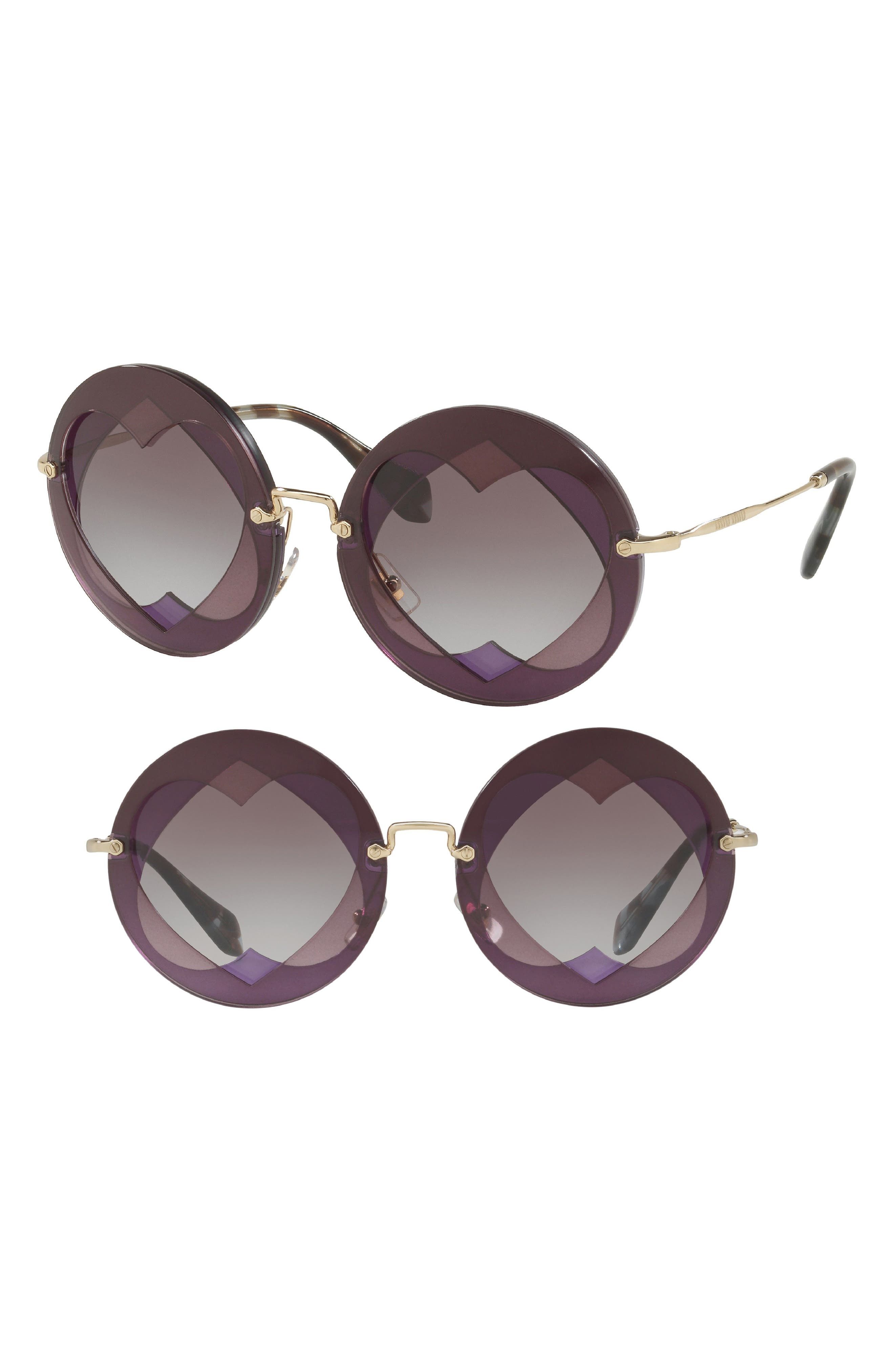 Miu Miu 62Mm Layered Heart Round Sunglasses - Violet Gradient