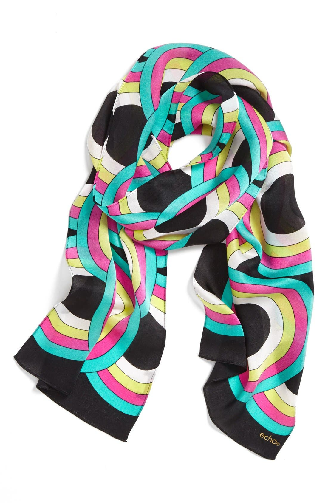 'Reflected Circle Links' Silk Scarf,                             Alternate thumbnail 4, color,                             001