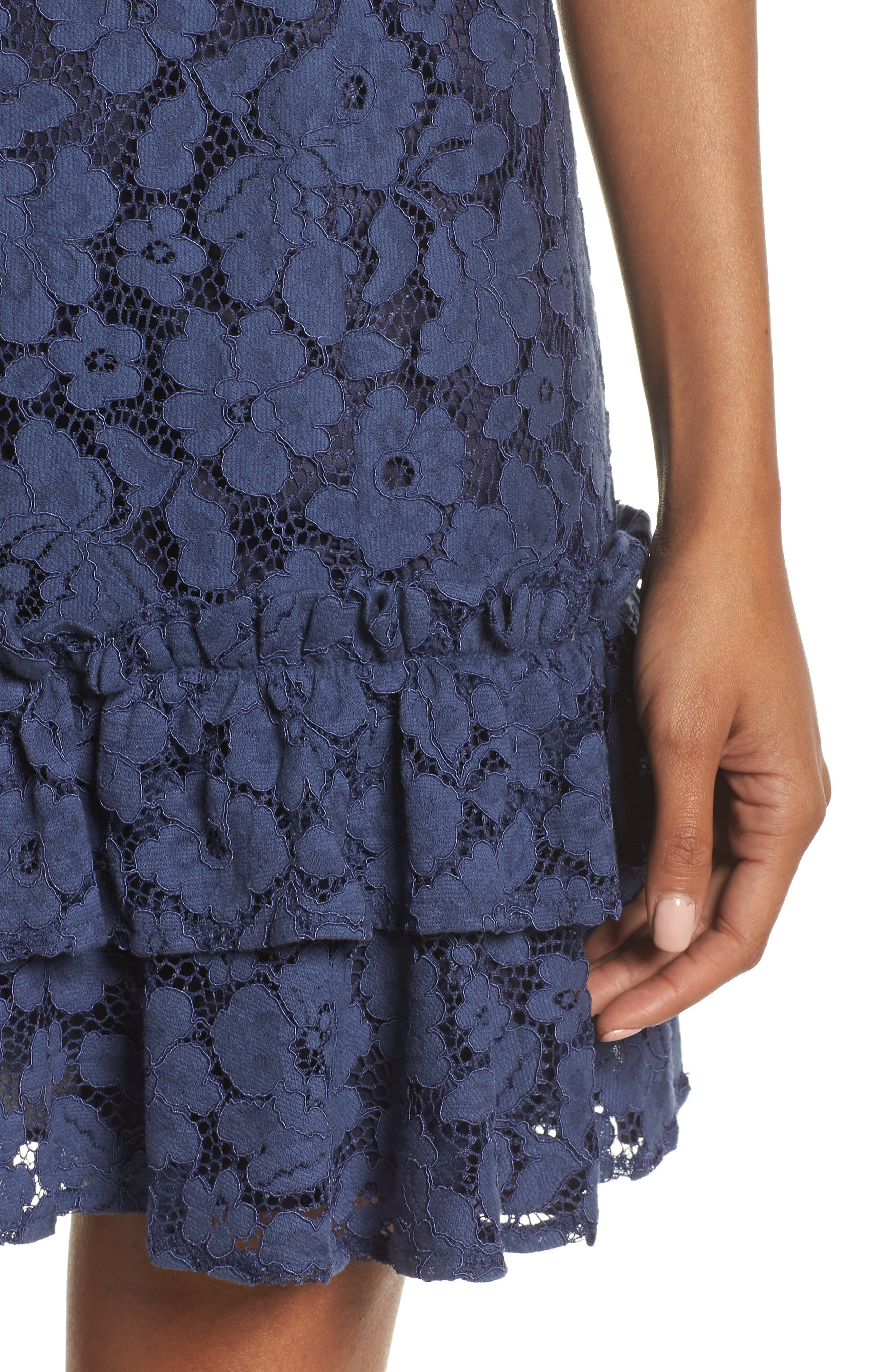 Ruffle Lace Sheath Dress,                             Alternate thumbnail 4, color,                             410